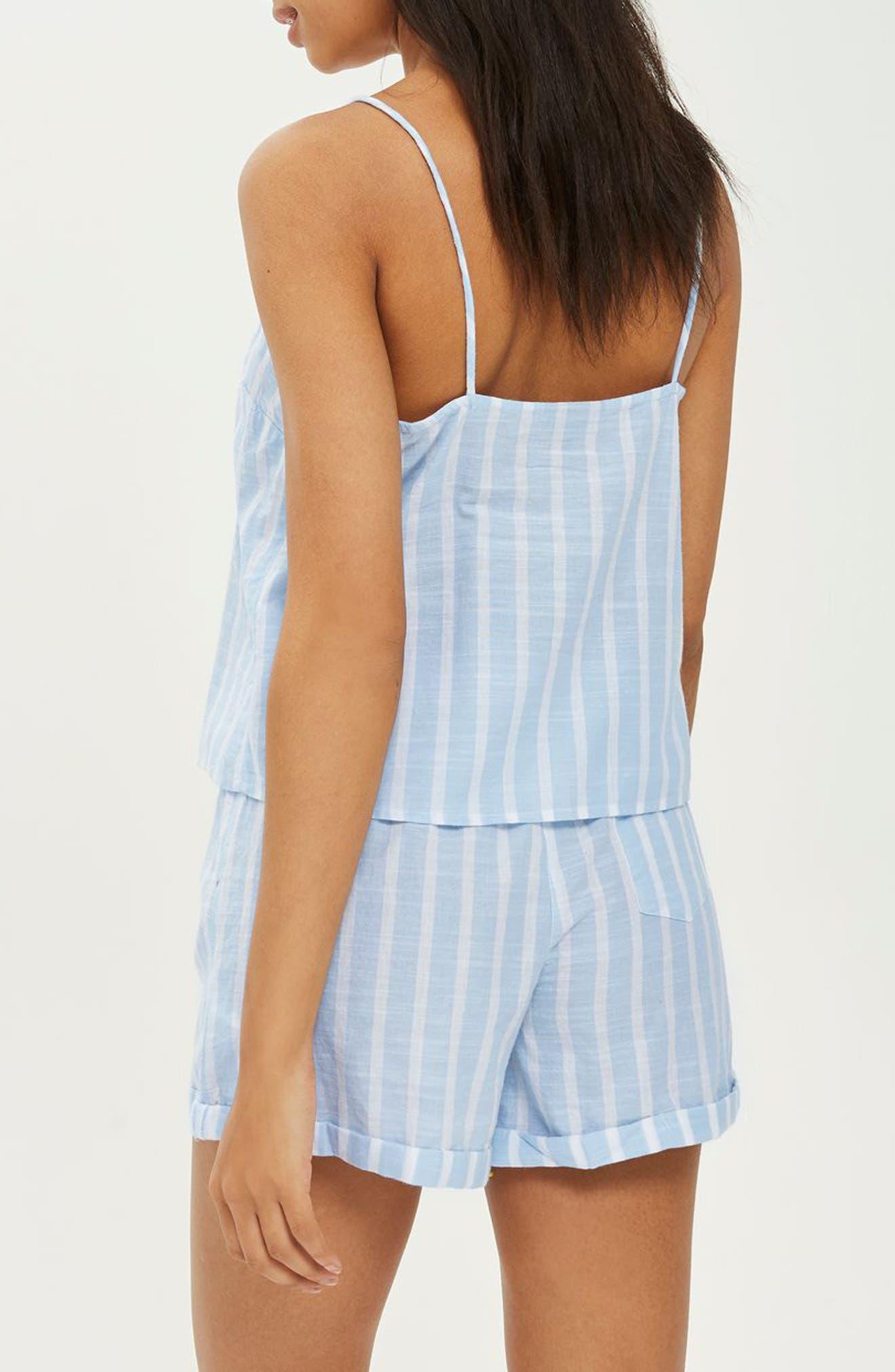 Stripe Camisole Pajama Top,                             Alternate thumbnail 2, color,                             LIGHT BLUE