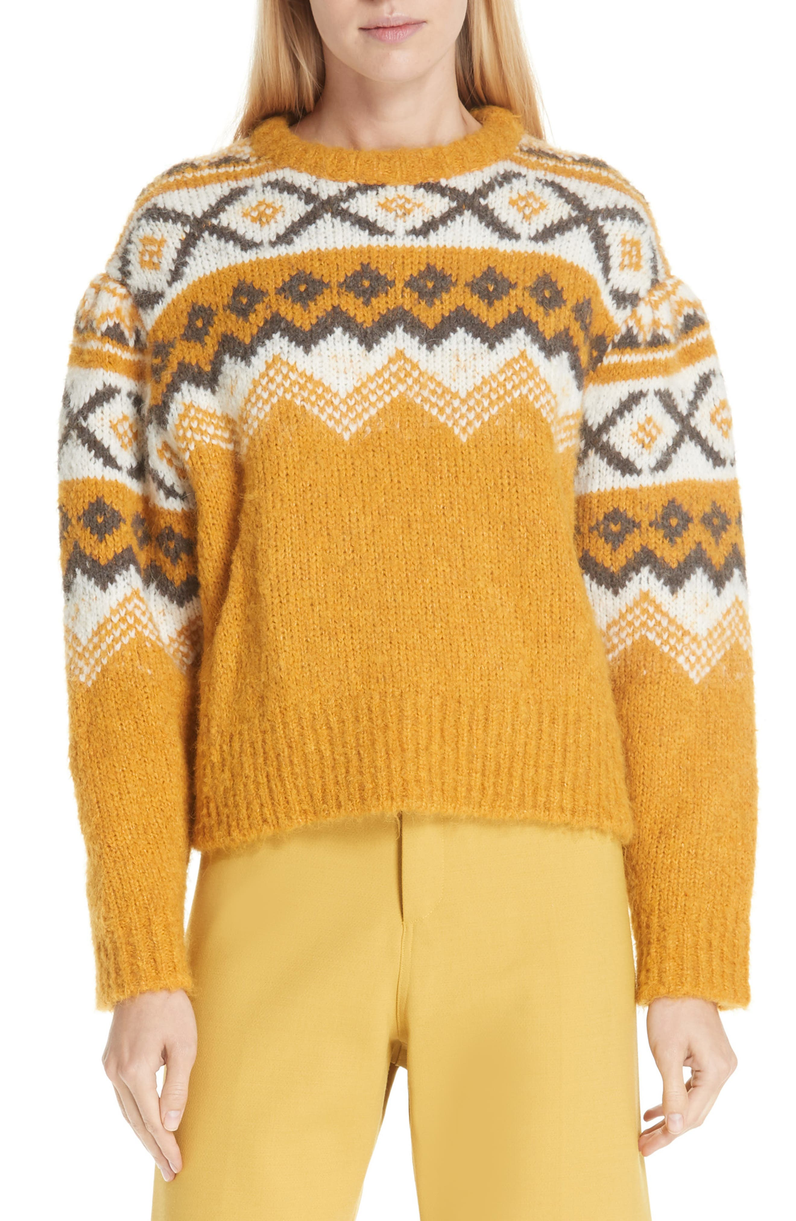 Fair Isle Shirred Sleeve Sweater,                             Main thumbnail 1, color,                             YELLOW