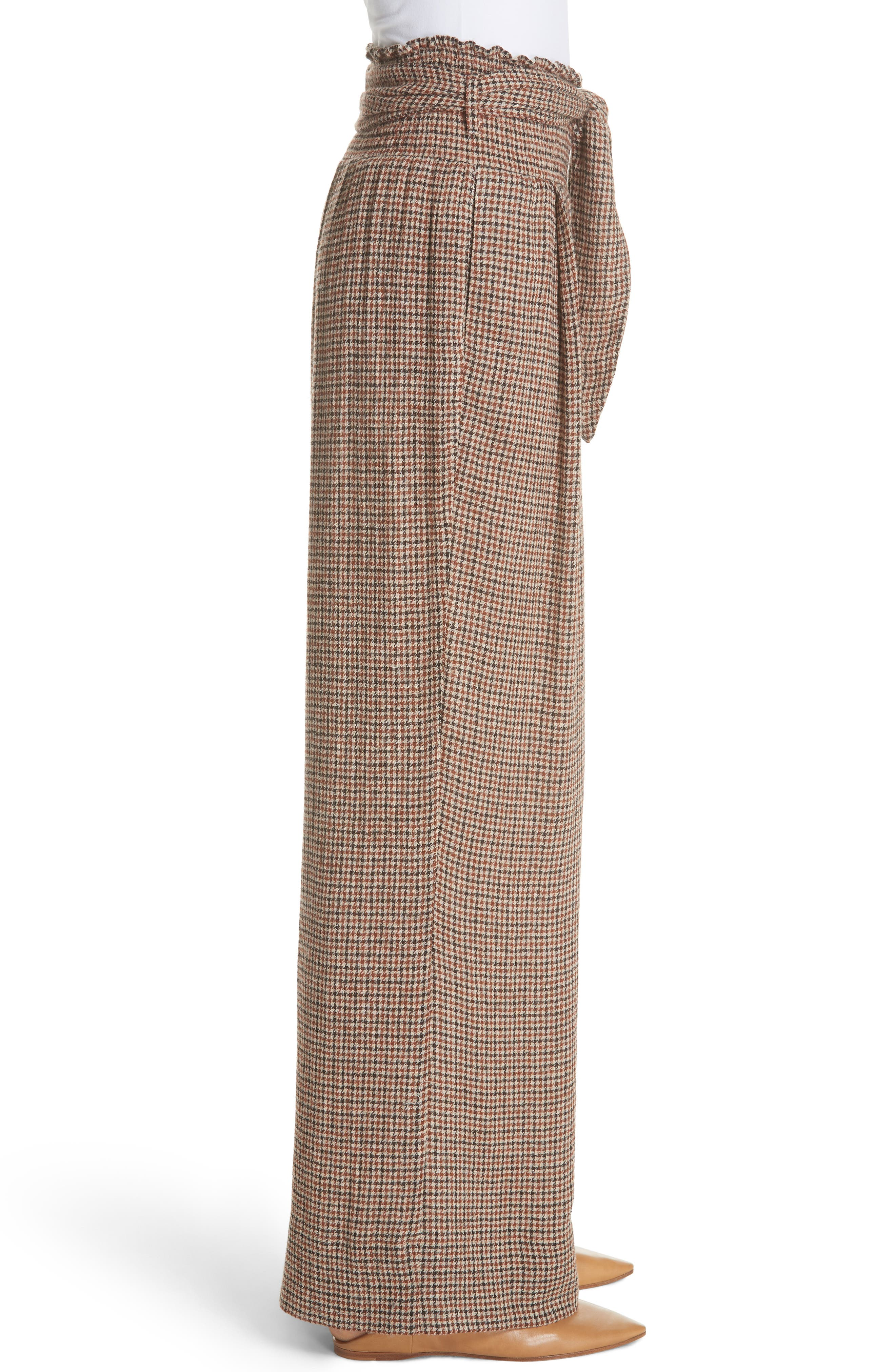 Private Houndstooth Tie Waist Pants,                             Alternate thumbnail 3, color,                             CHECK