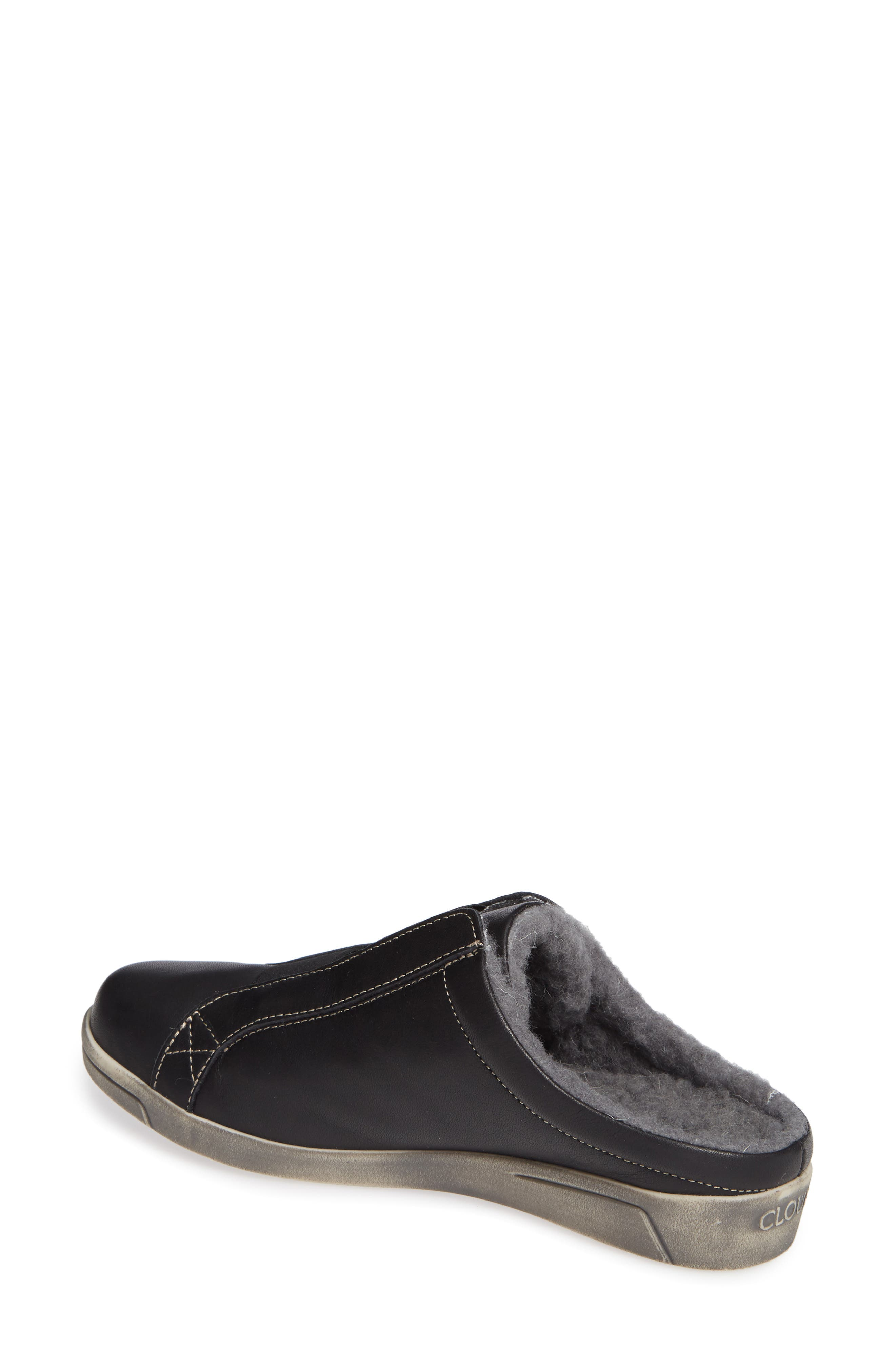 Alexis Wool Lined Backless Sneaker,                             Alternate thumbnail 2, color,                             BLACK LEATHER