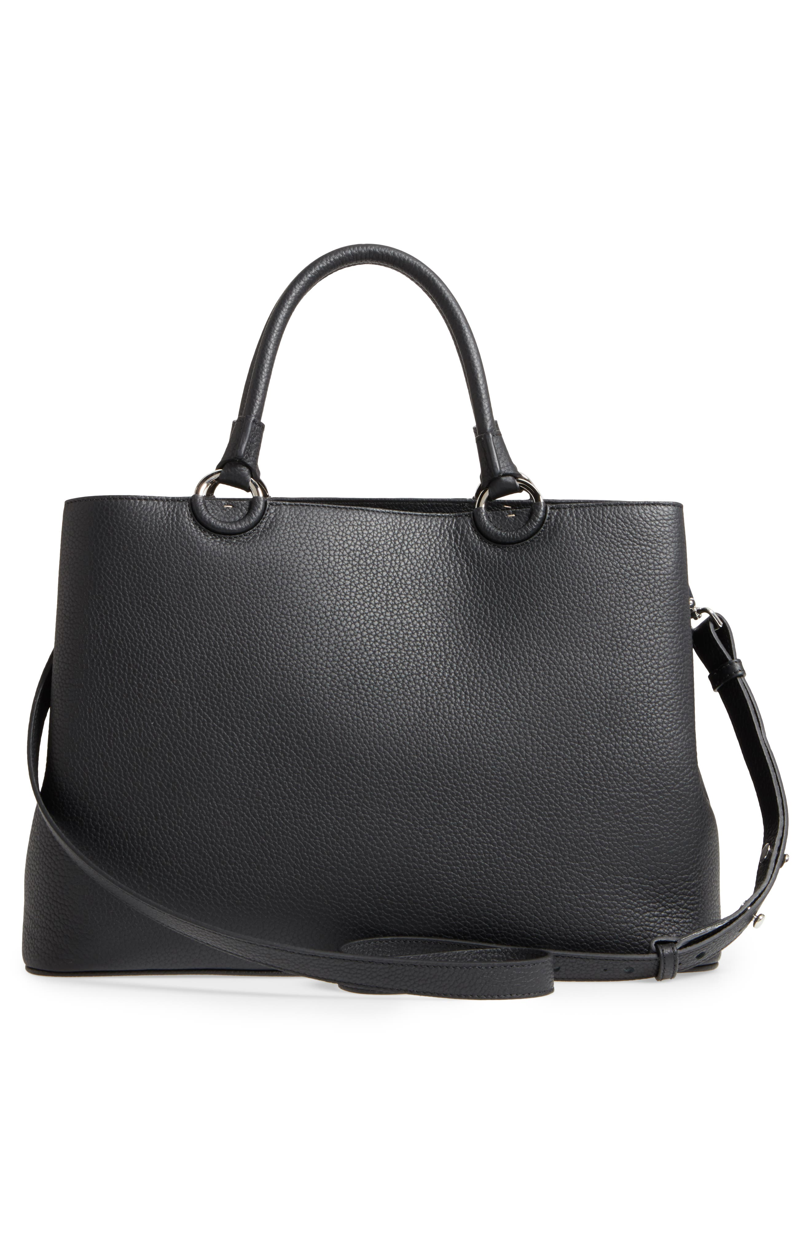 Veronica Cachemire Leather Tote,                             Alternate thumbnail 3, color,                             001