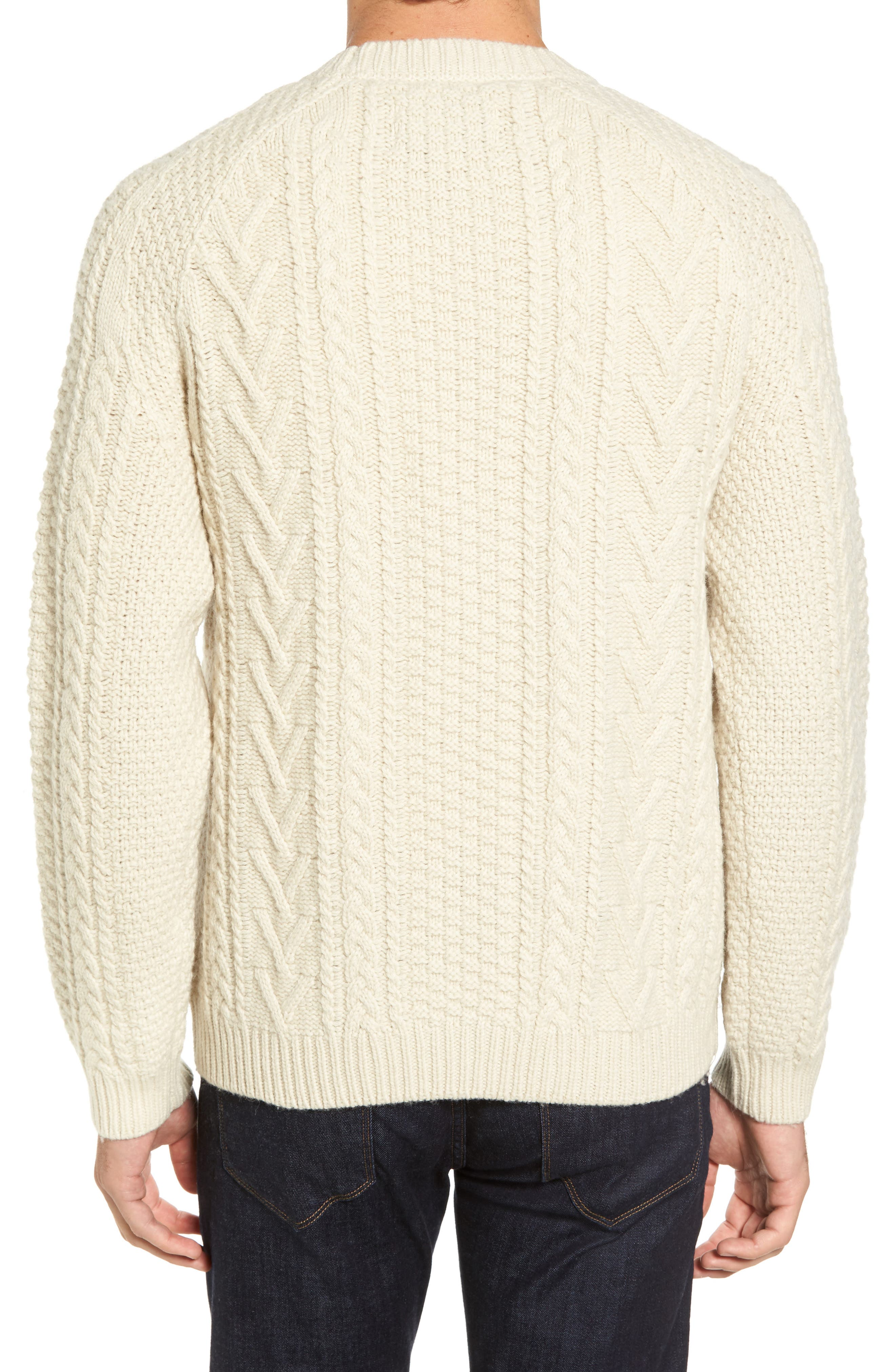 Fisherman Knit Wool Blend Sweater,                             Alternate thumbnail 2, color,                             OFF WHITE