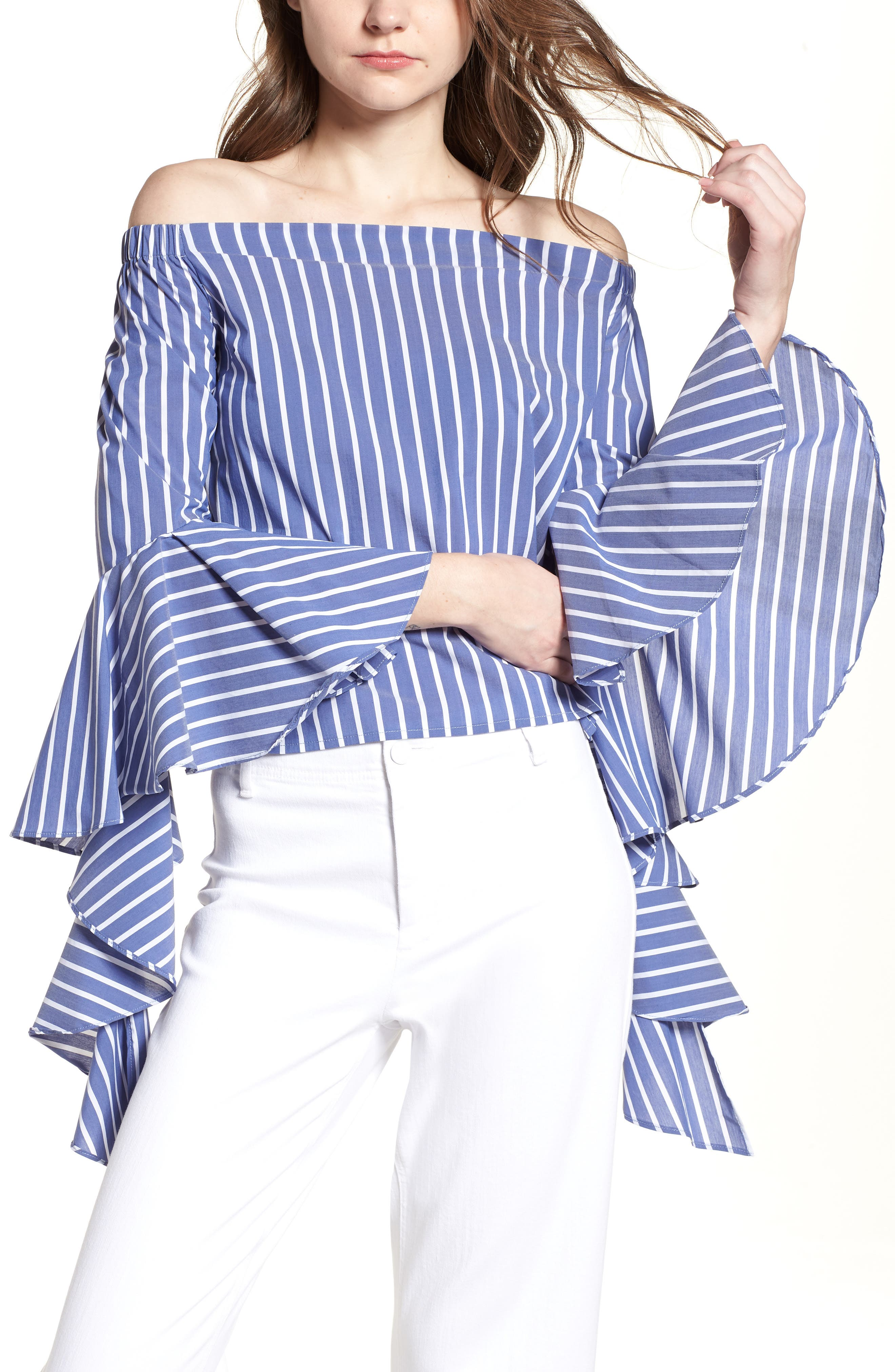 Bishop + Young Gigi Ruffle Sleeve Off the Shoulder Top,                             Main thumbnail 1, color,                             BLUE WHITE STRIPE