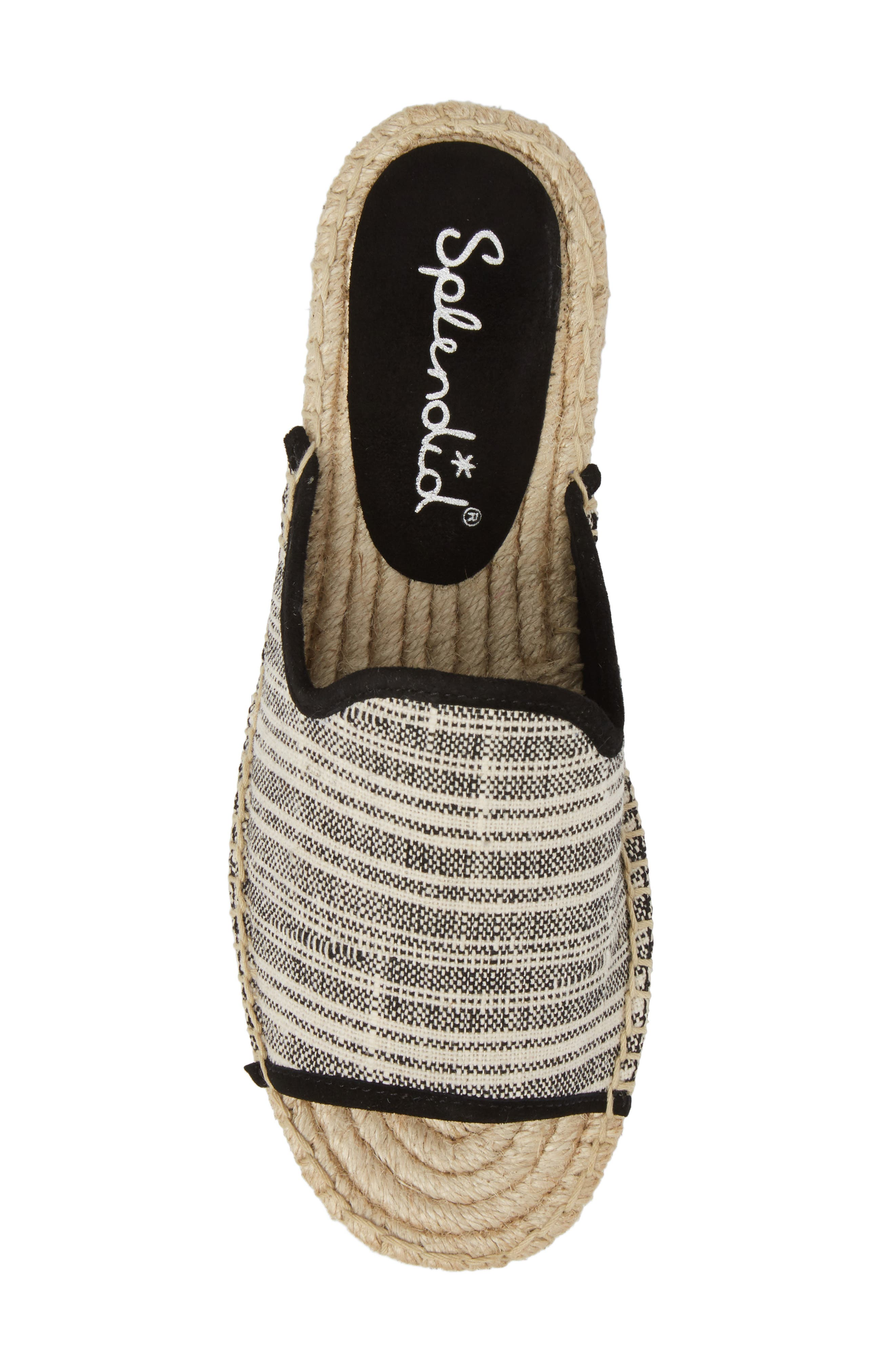 Franci Espadrille Slide Sandal,                             Alternate thumbnail 5, color,                             BLACK/ NATURAL FABRIC