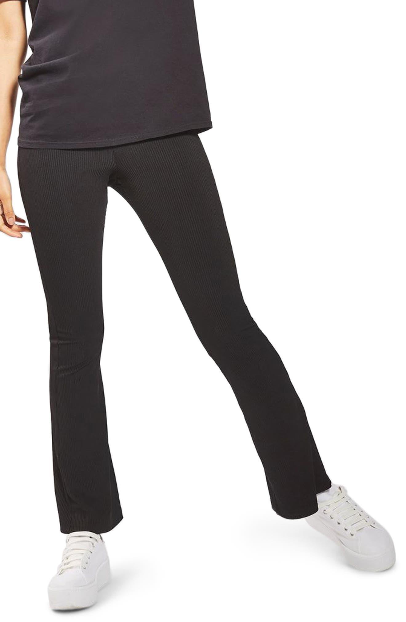 Petite Topshop Ribbed Flare Pants, US (fits like 00P) - Black
