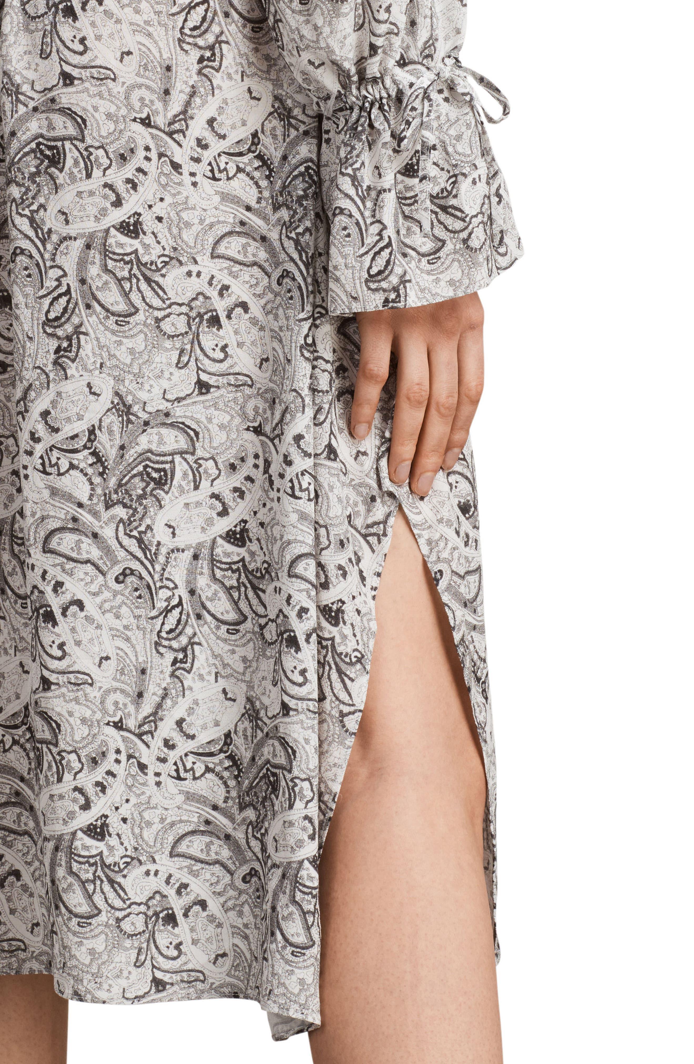 Lavete Paisley Cold Shoulder Midi Dress,                             Alternate thumbnail 4, color,                             100