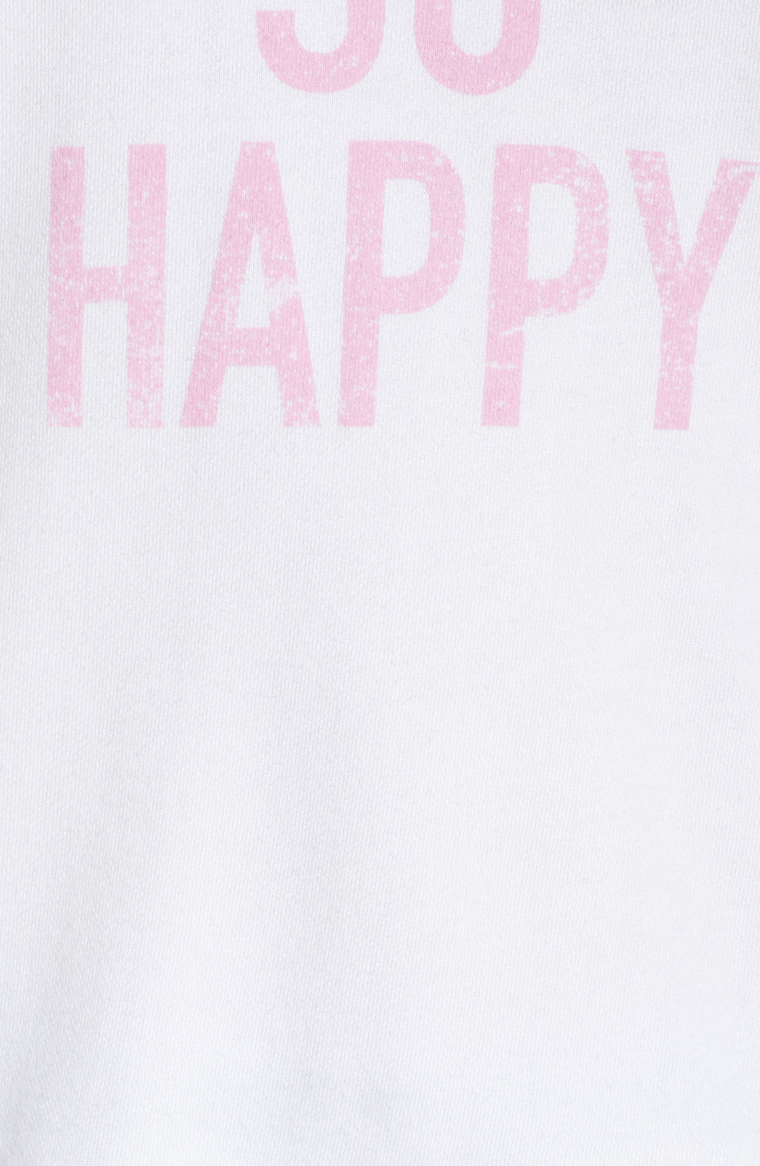 DAVID LERNER,                             I'm So Happy Raglan Pullover,                             Alternate thumbnail 5, color,                             WHITE