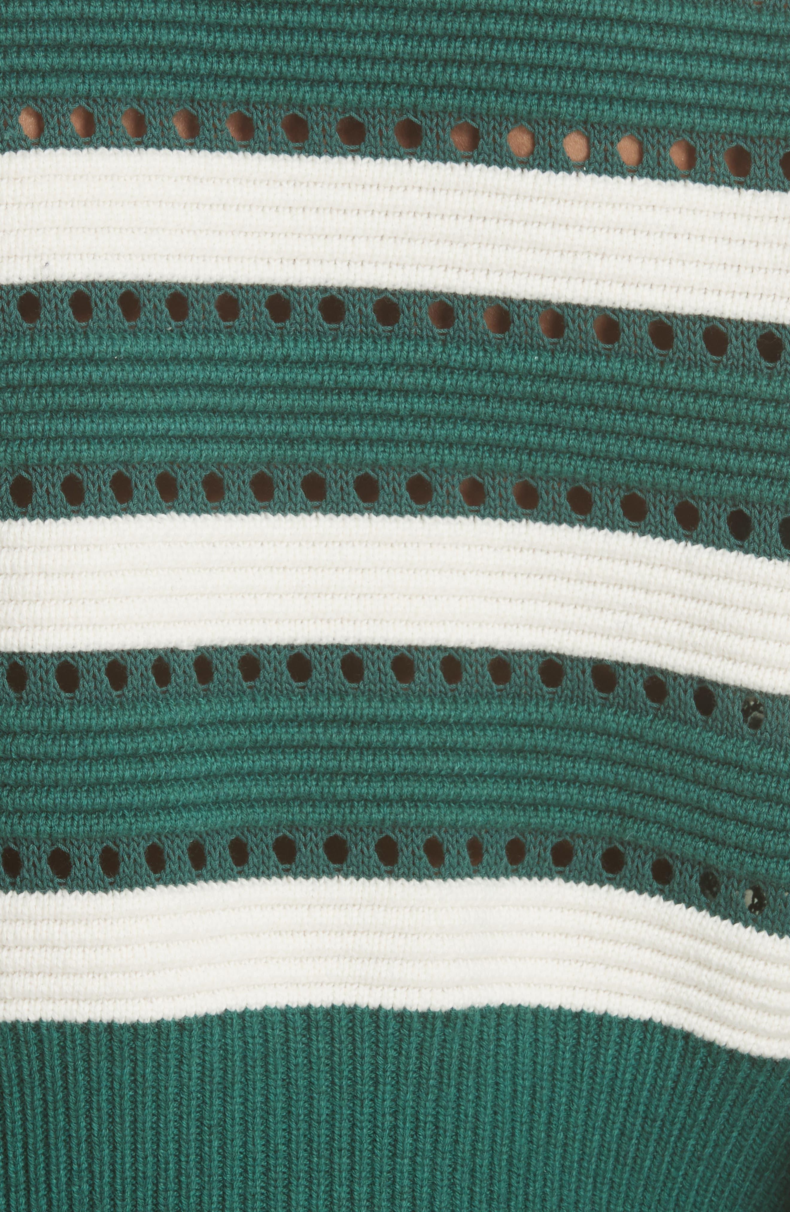 Puff Sleeve Cotton & Wool Crop Sweater,                             Alternate thumbnail 5, color,                             GREEN-CREAM