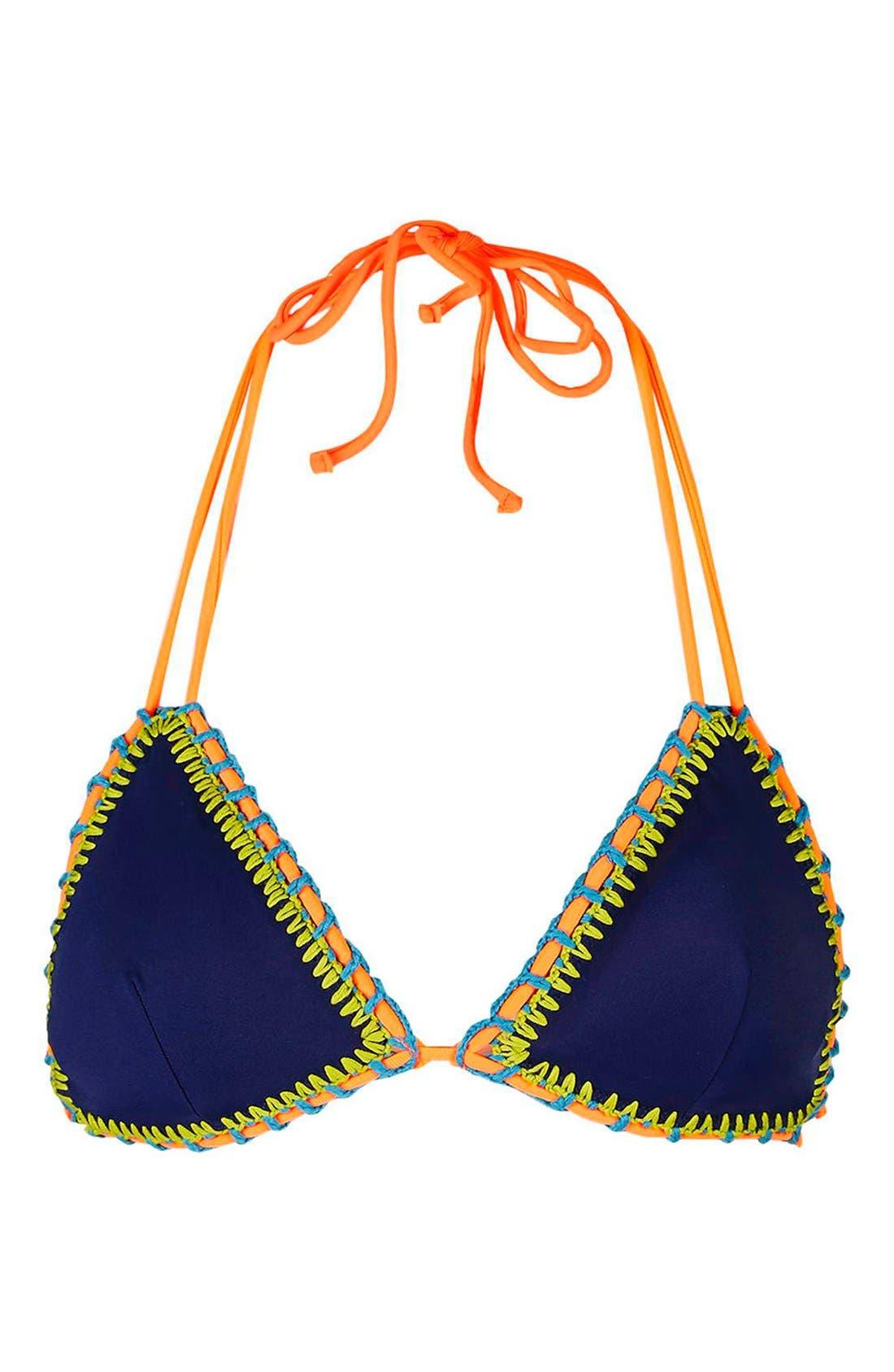 TOPSHOP,                             Crochet Trim Triangle Bikini Top,                             Main thumbnail 1, color,                             400