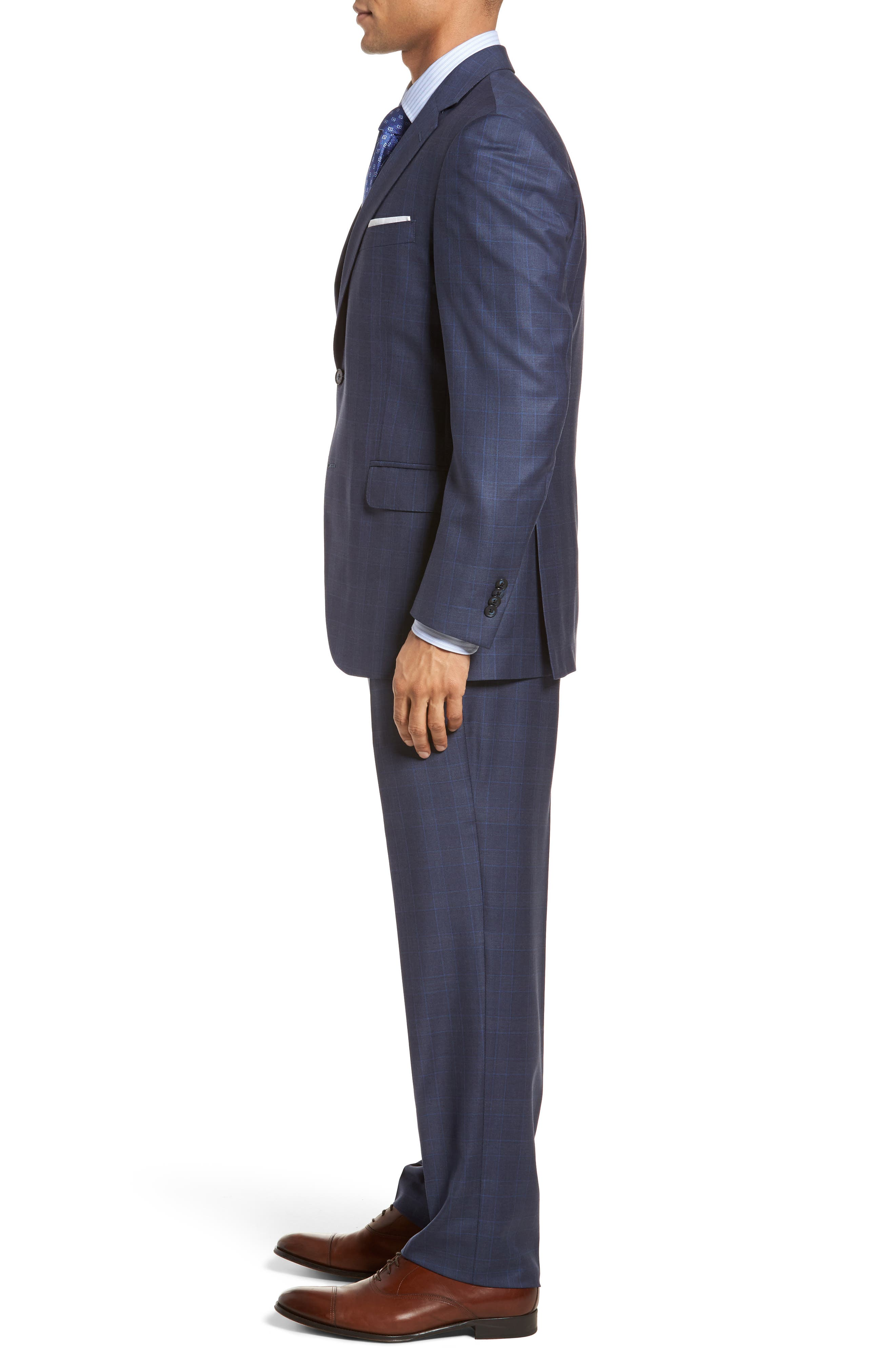 Classic Fit Windowpane Wool Suit,                             Alternate thumbnail 3, color,                             400