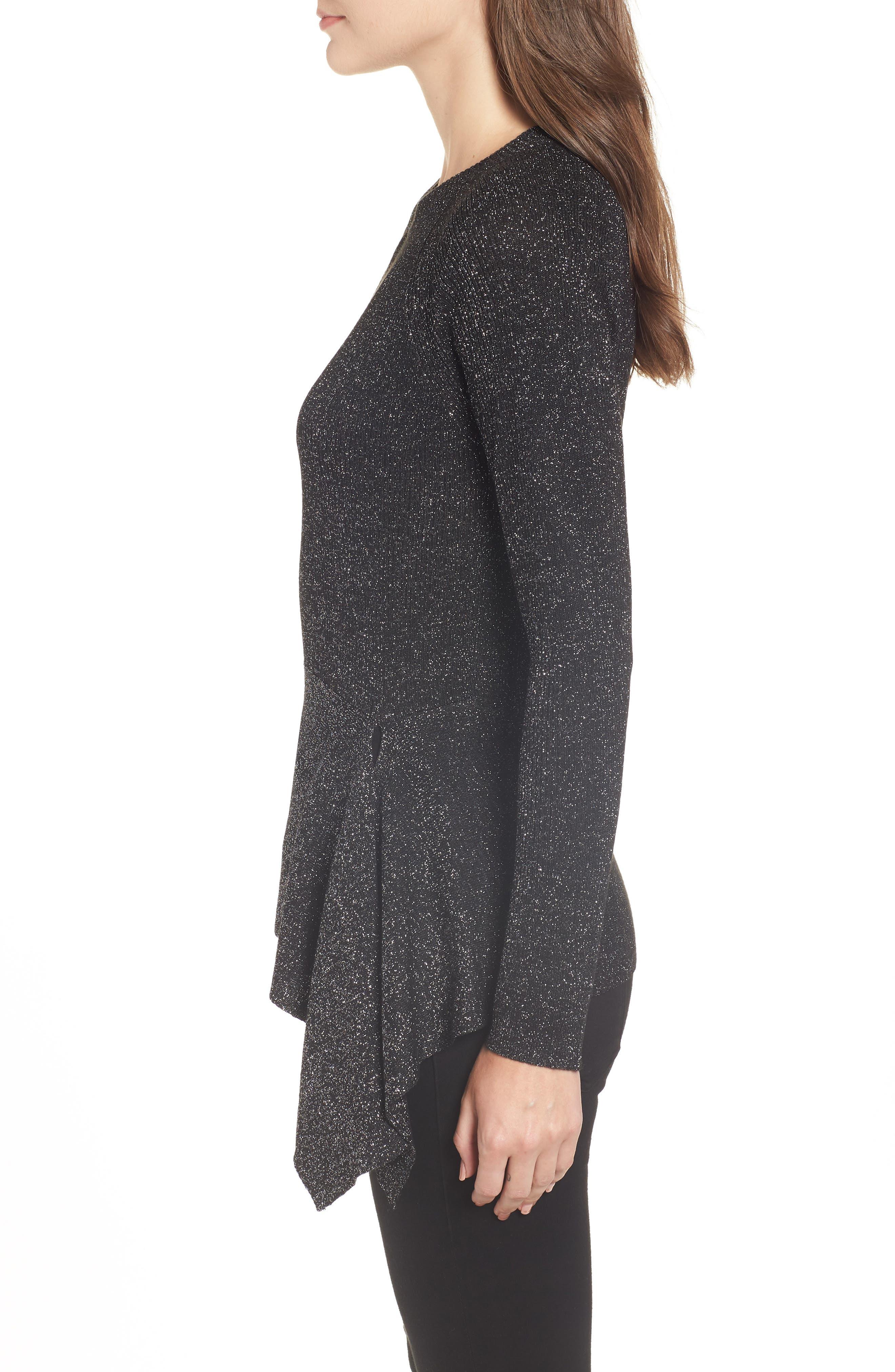 Drape Waist Sweater,                             Alternate thumbnail 3, color,                             BLACK- SILVER SPANGLE METALLIC