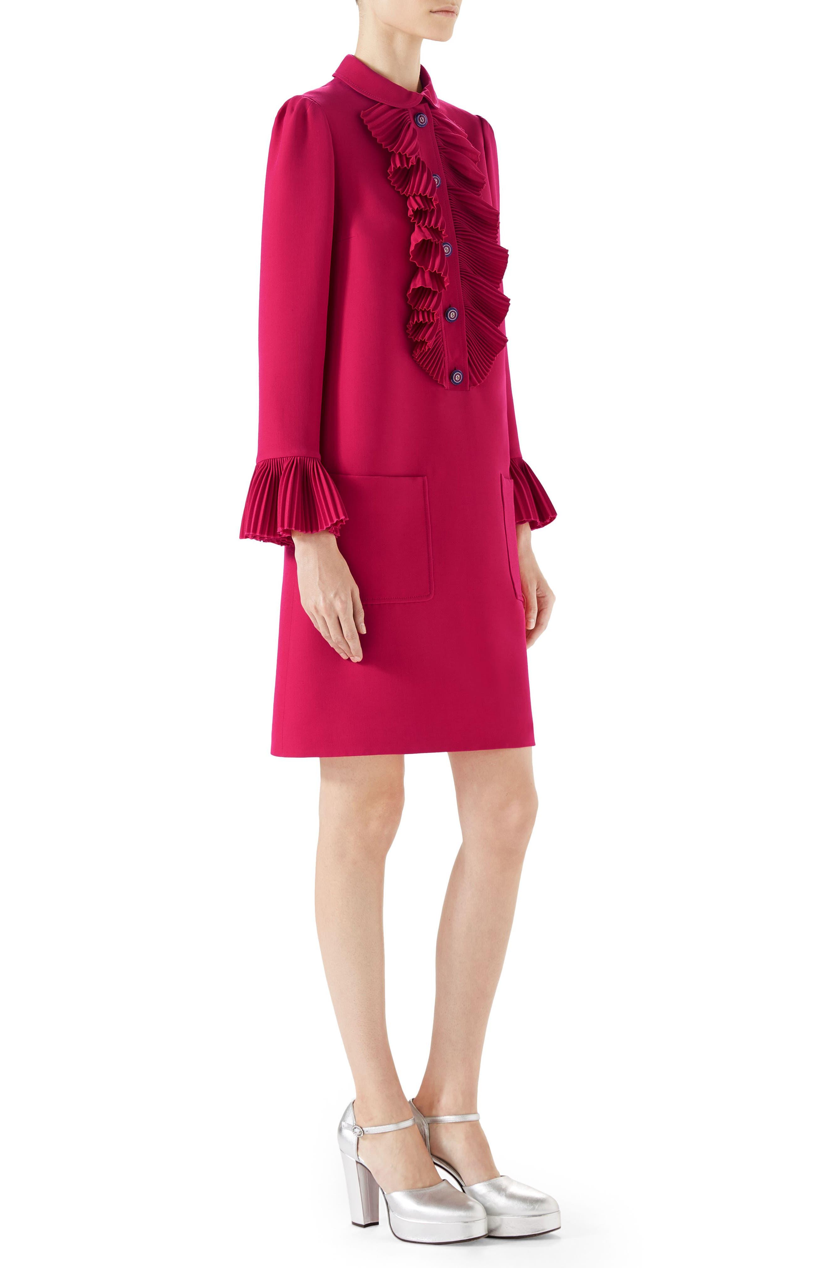 Plissé Ruffle Cady Crepe Dress,                             Alternate thumbnail 3, color,                             RUBINE DEEP PINK