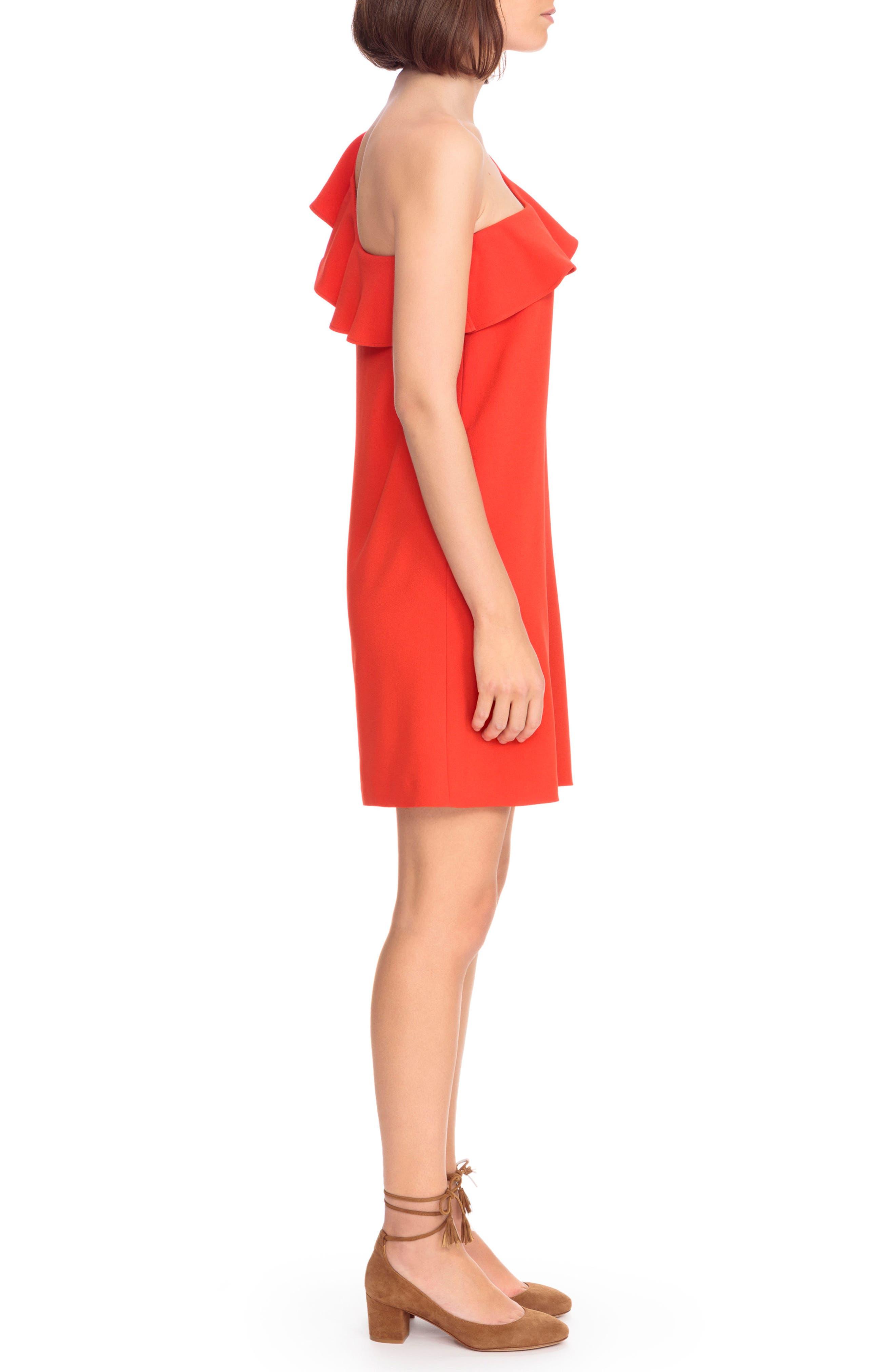 Louison Ruffle One-Shoulder Shift Dress,                             Alternate thumbnail 3, color,                             600
