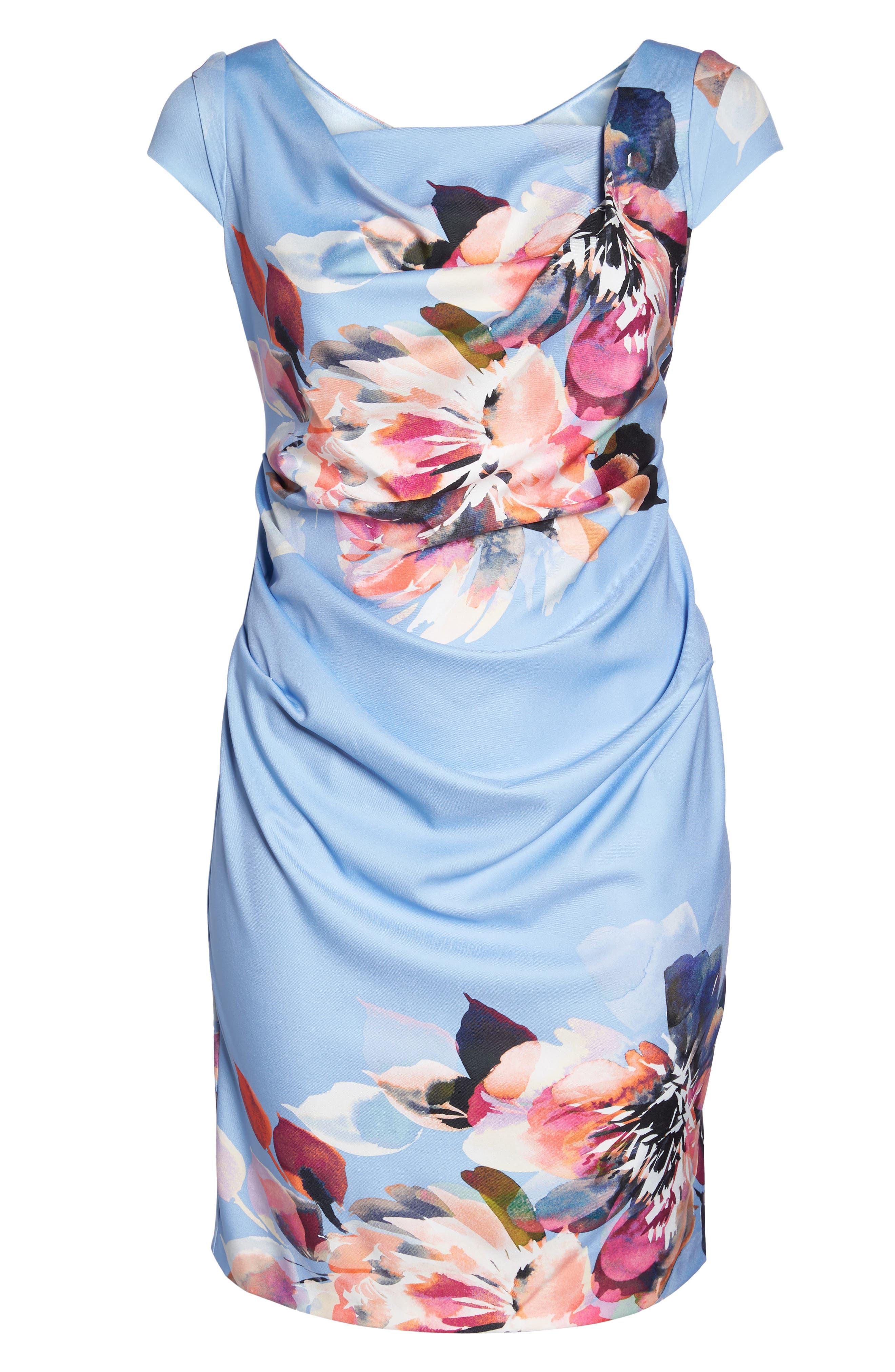 Magnolia Drape Front Sheath Dress,                             Alternate thumbnail 6, color,                             461