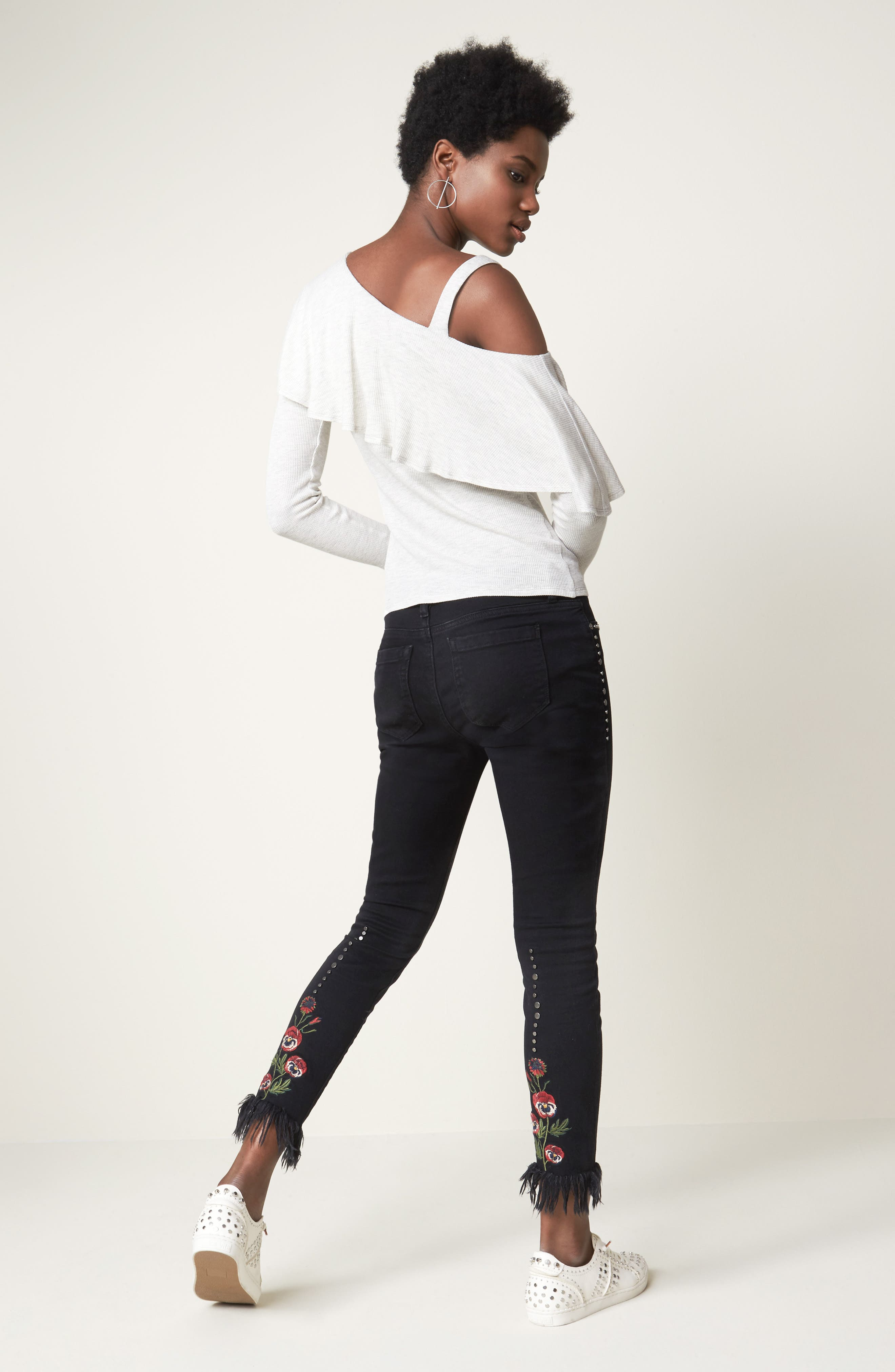 Embroidered & Studded Skinny Jeans,                             Alternate thumbnail 7, color,                             001