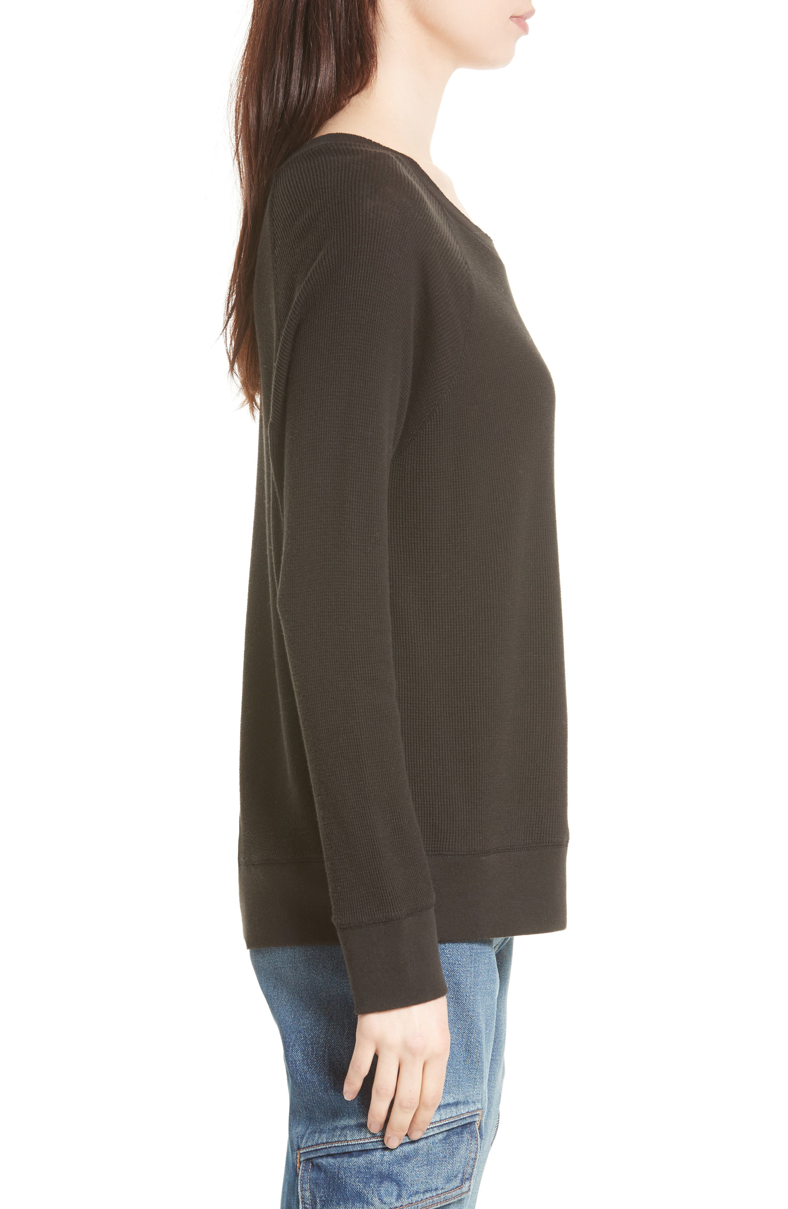 Thermal Pima Cotton Pullover,                             Alternate thumbnail 3, color,                             001