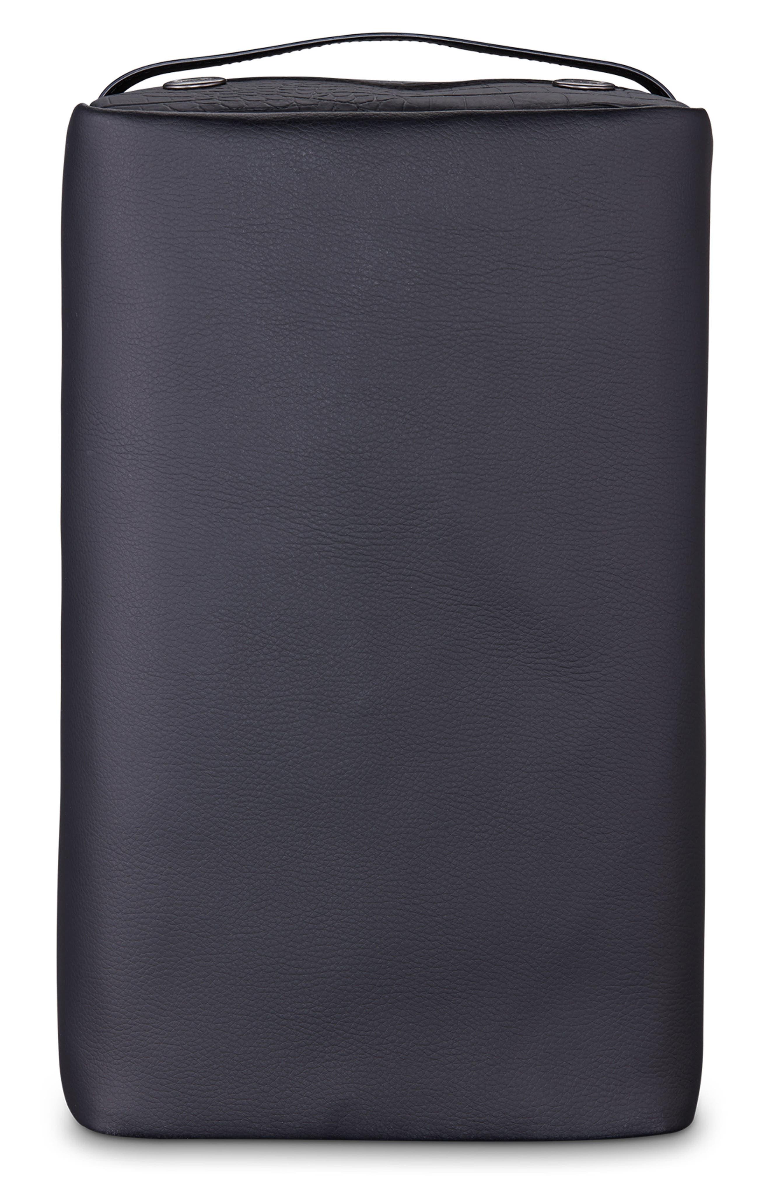 Signature 2.0 Faux Leather Shoe Bag,                             Alternate thumbnail 2, color,                             PEBBLED/ CROC BLACK