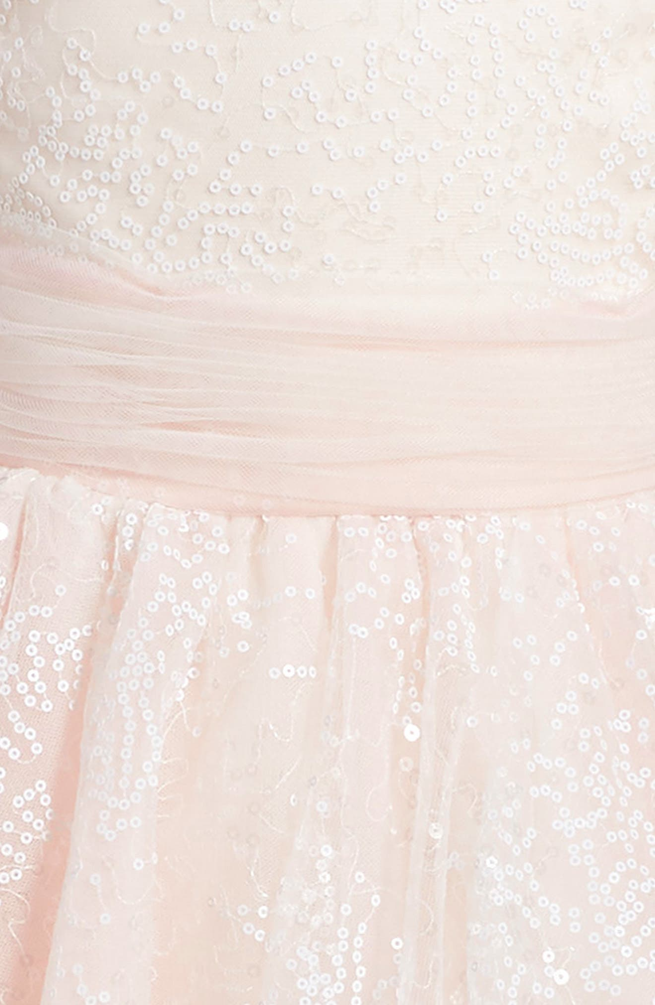 Sequin Tulle Dress,                             Alternate thumbnail 3, color,                             IVORY/ PINK