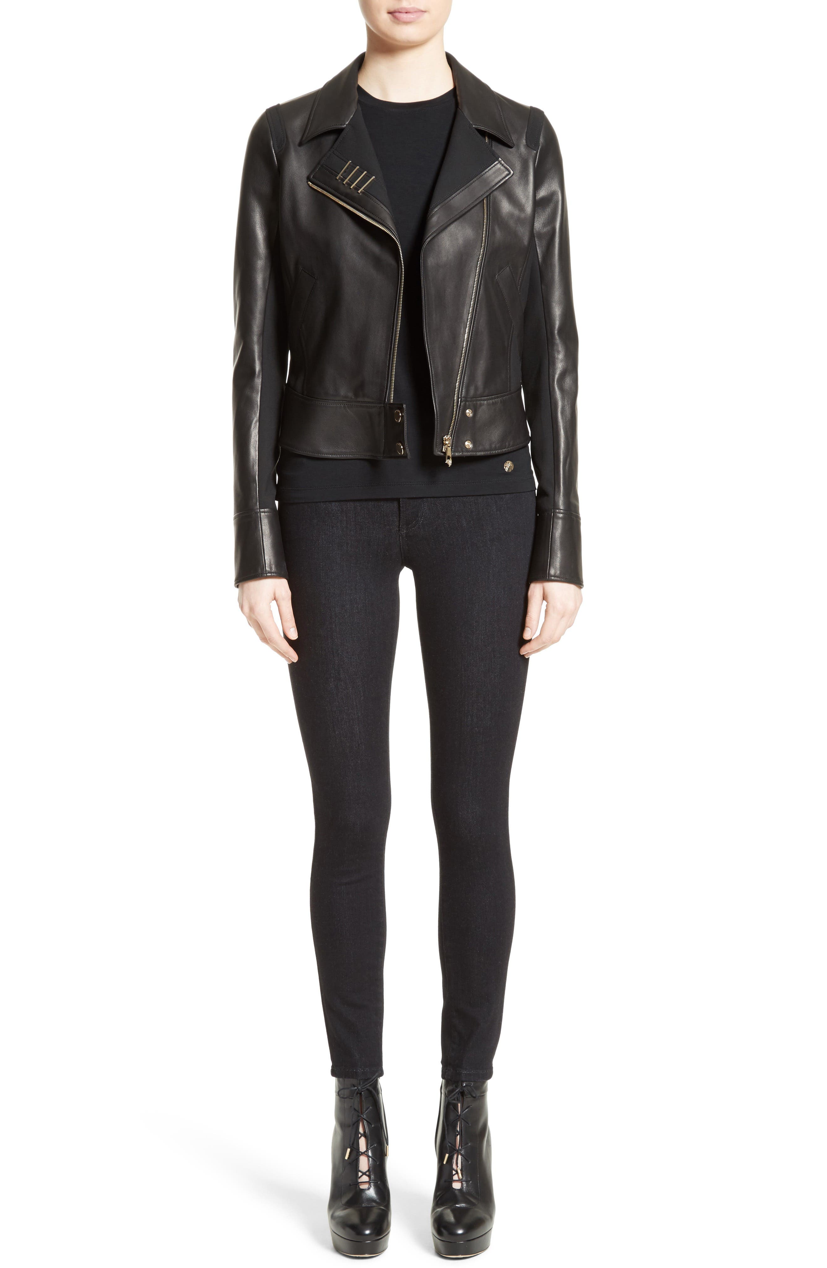 Asymmetrical Zip Leather Jacket,                             Alternate thumbnail 7, color,                             001