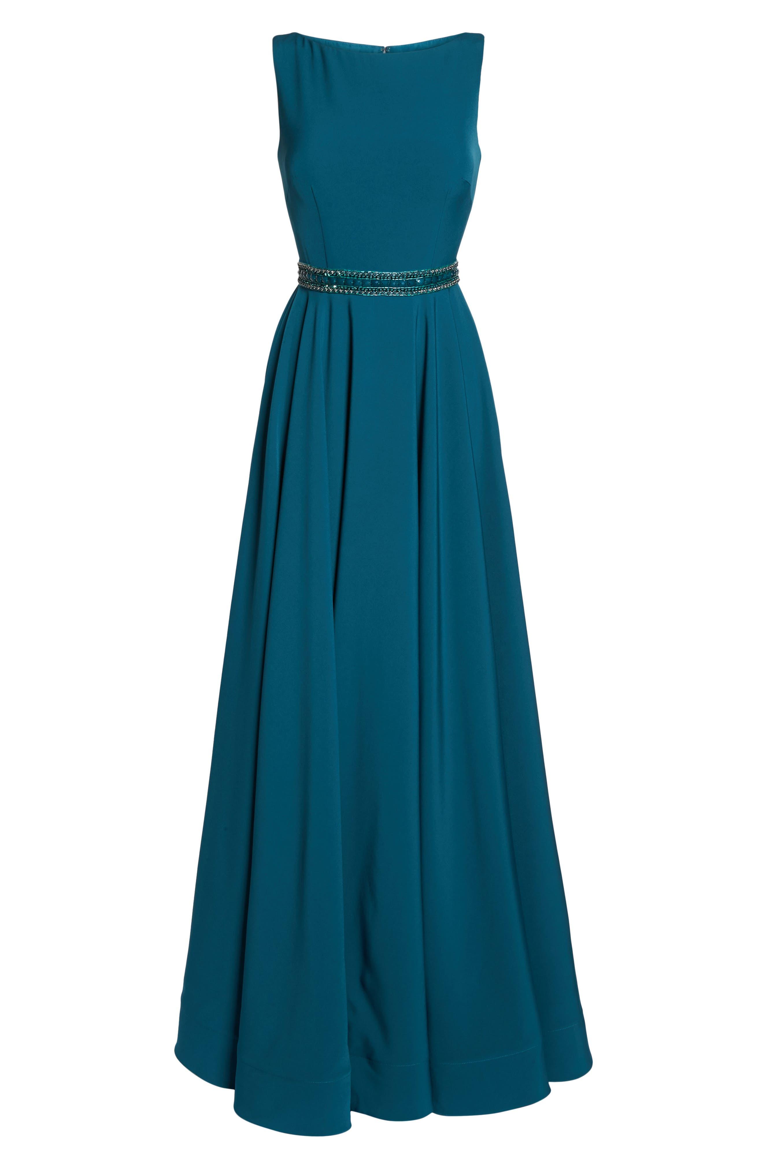 Beaded Waist Gown,                             Alternate thumbnail 6, color,                             TEAL