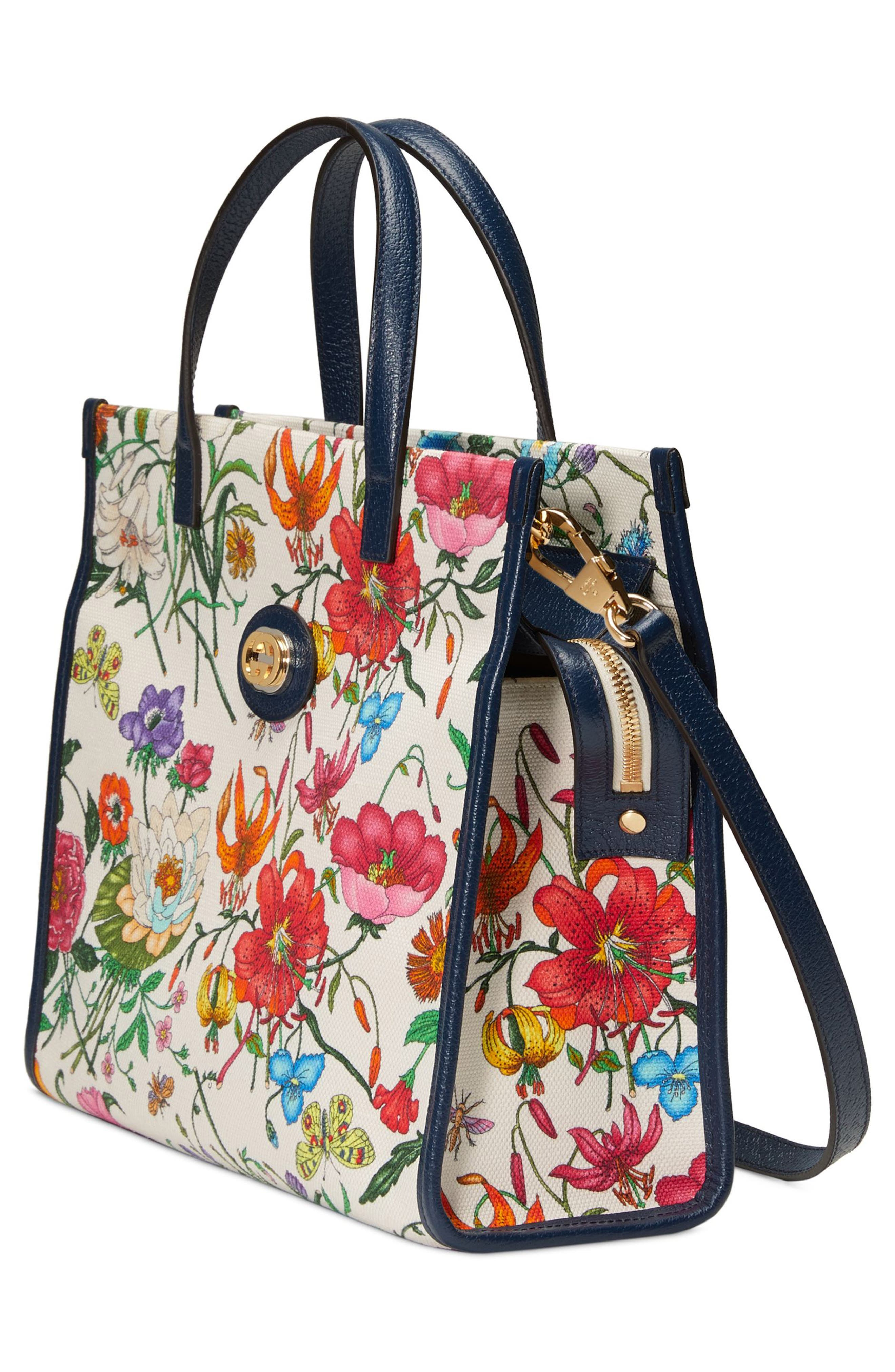 Small Flora Canvas Tote,                             Alternate thumbnail 4, color,                             WHITE MULTI