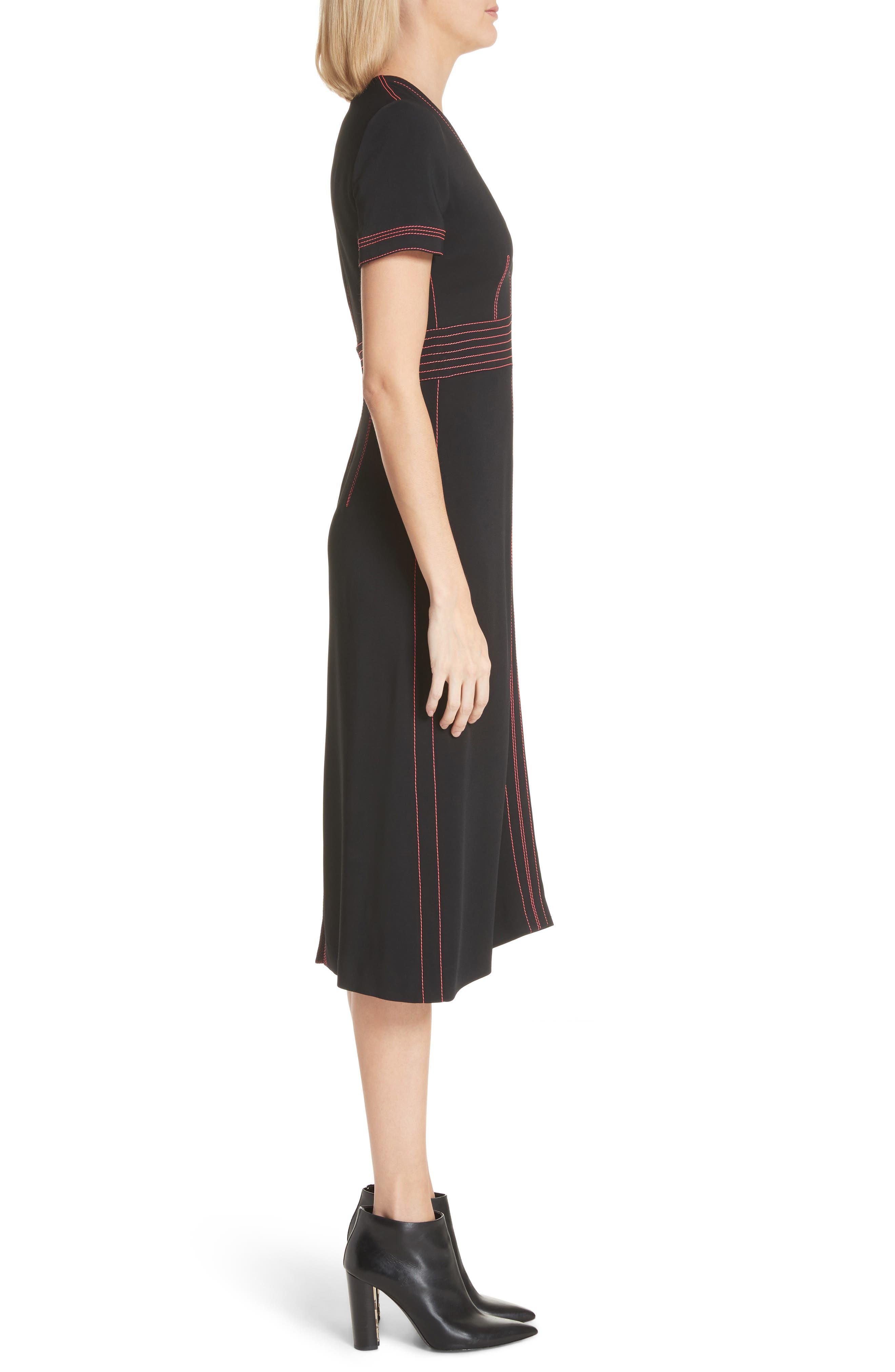 Benni Topstitched Midi Dress,                             Alternate thumbnail 3, color,                             001