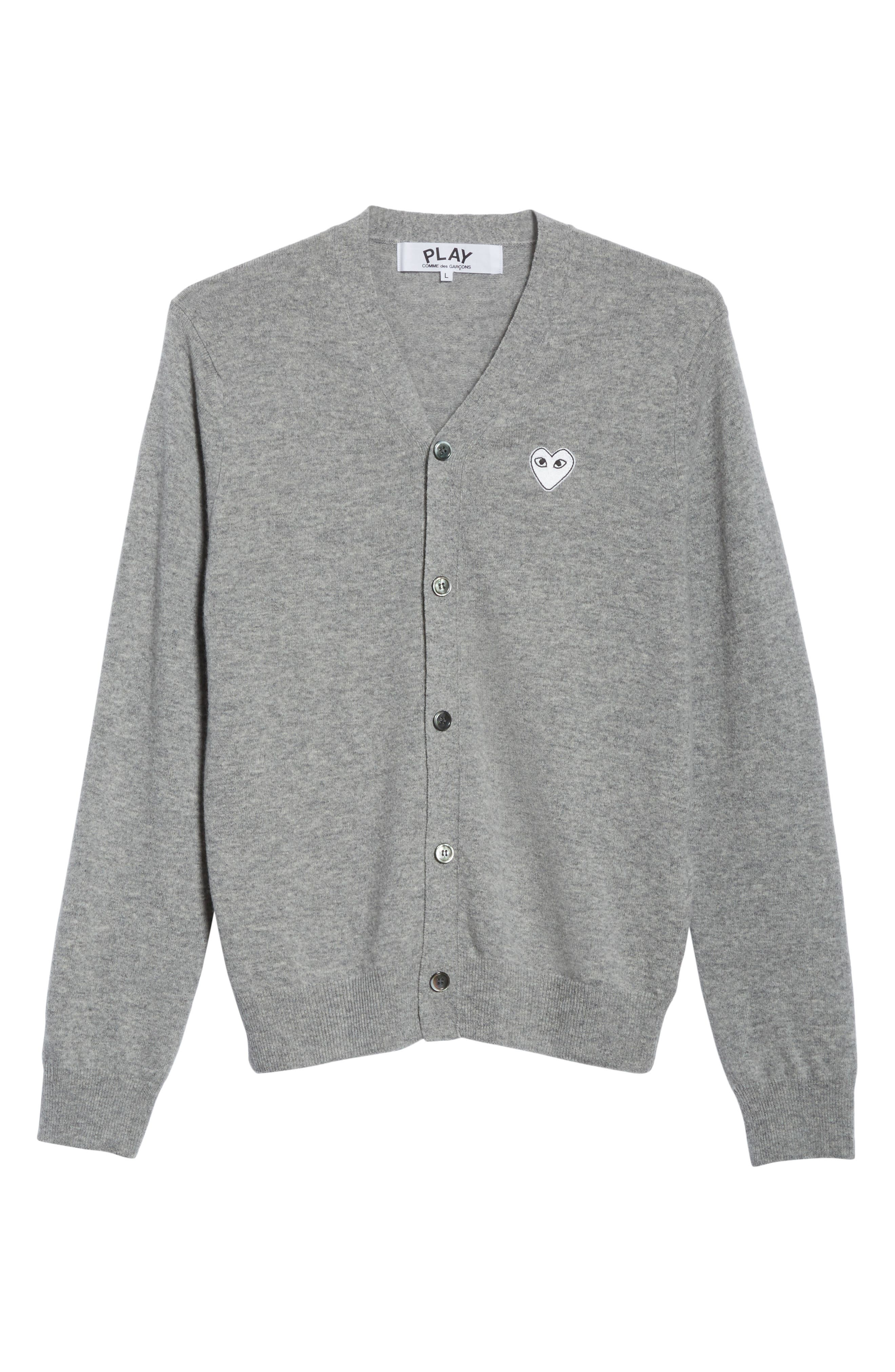 White Heart Wool Cardigan,                             Alternate thumbnail 6, color,                             LIGHT GREY