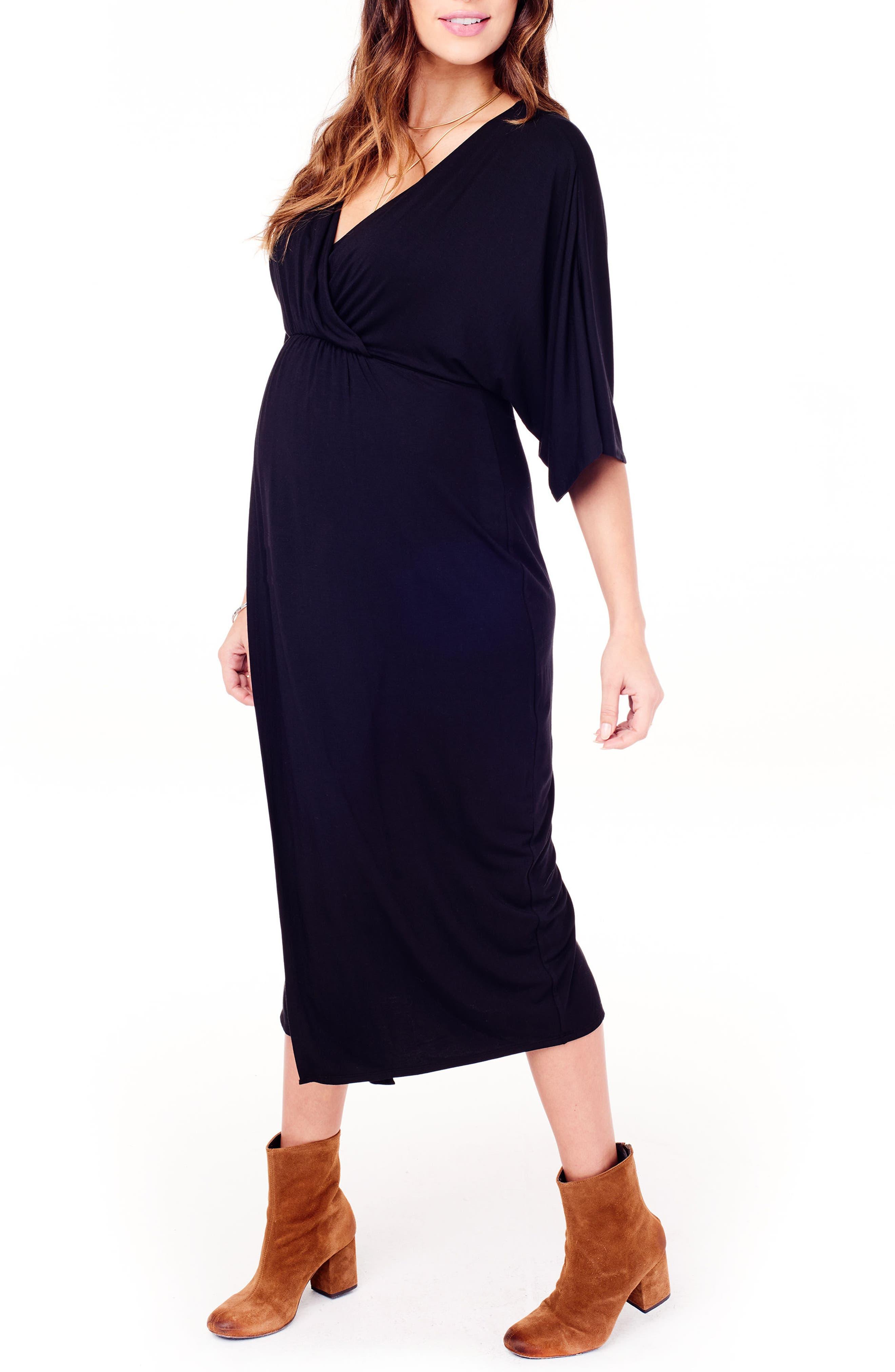 Dolman Sleeve Maternity Dress,                             Alternate thumbnail 3, color,                             JET BLACK