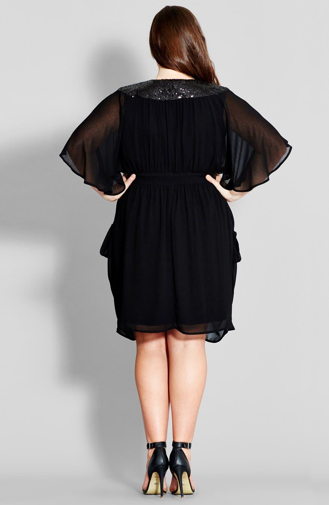 Sequin Wrap Front Dress,                             Alternate thumbnail 2, color,                             BLACK