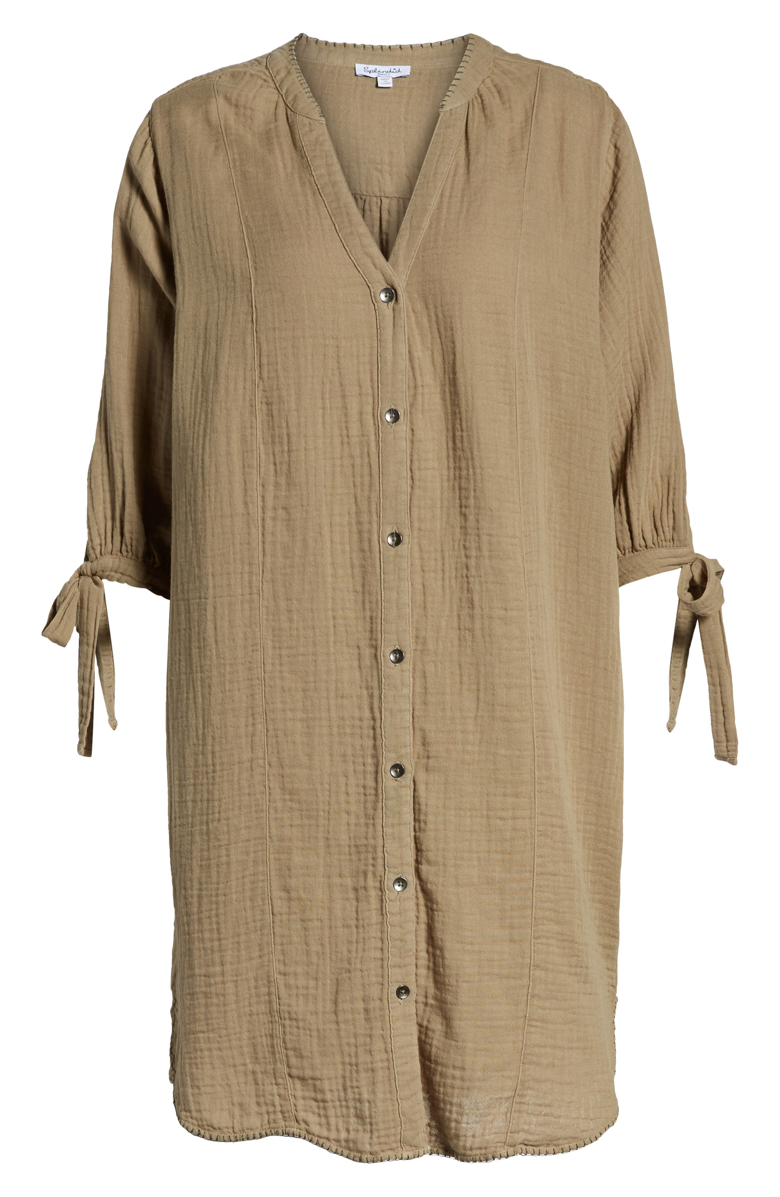 Whipstitch Tie Sleeve Shirtdress,                             Alternate thumbnail 7, color,                             OLIVE