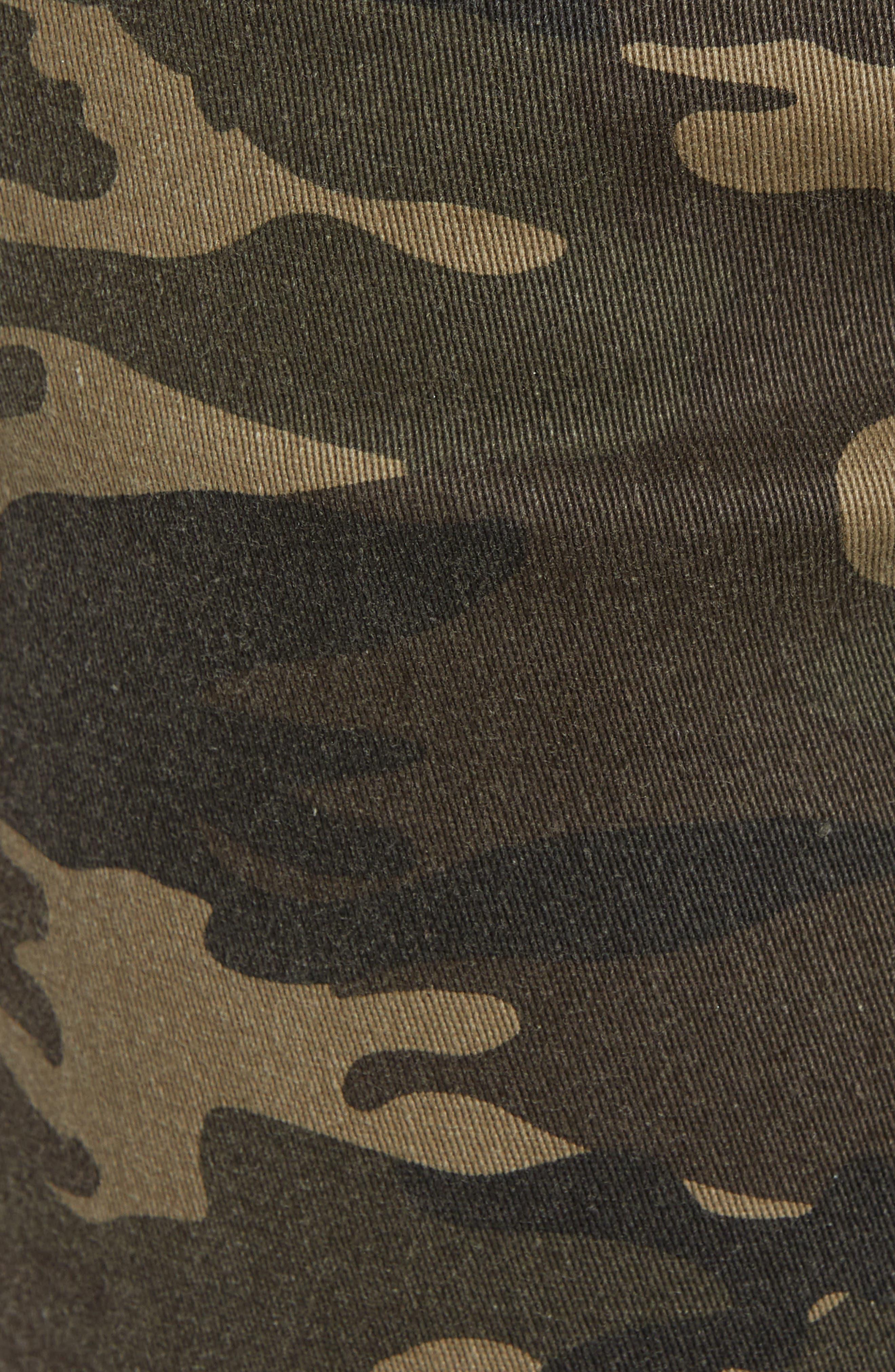 Camo Print Crop Flare Jeans,                             Alternate thumbnail 5, color,                             OLIVE CAMO