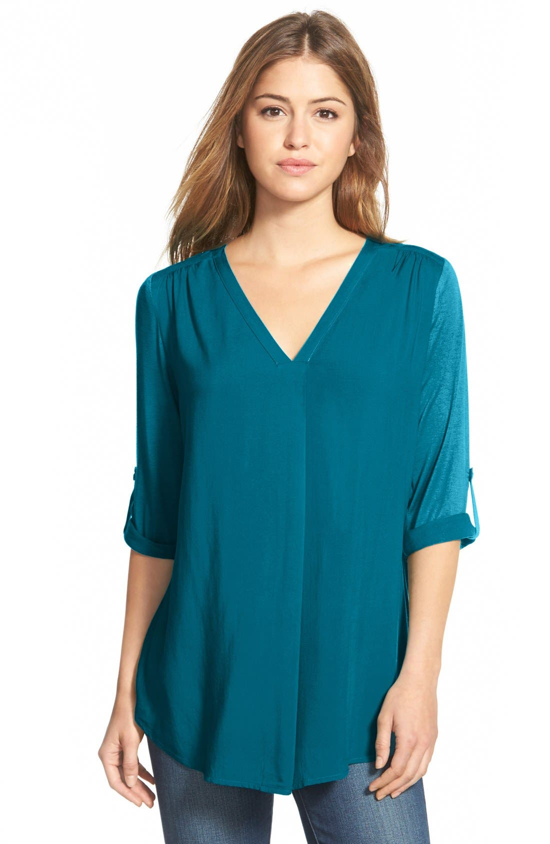 Mixed Media V-Neck Tunic,                             Main thumbnail 17, color,