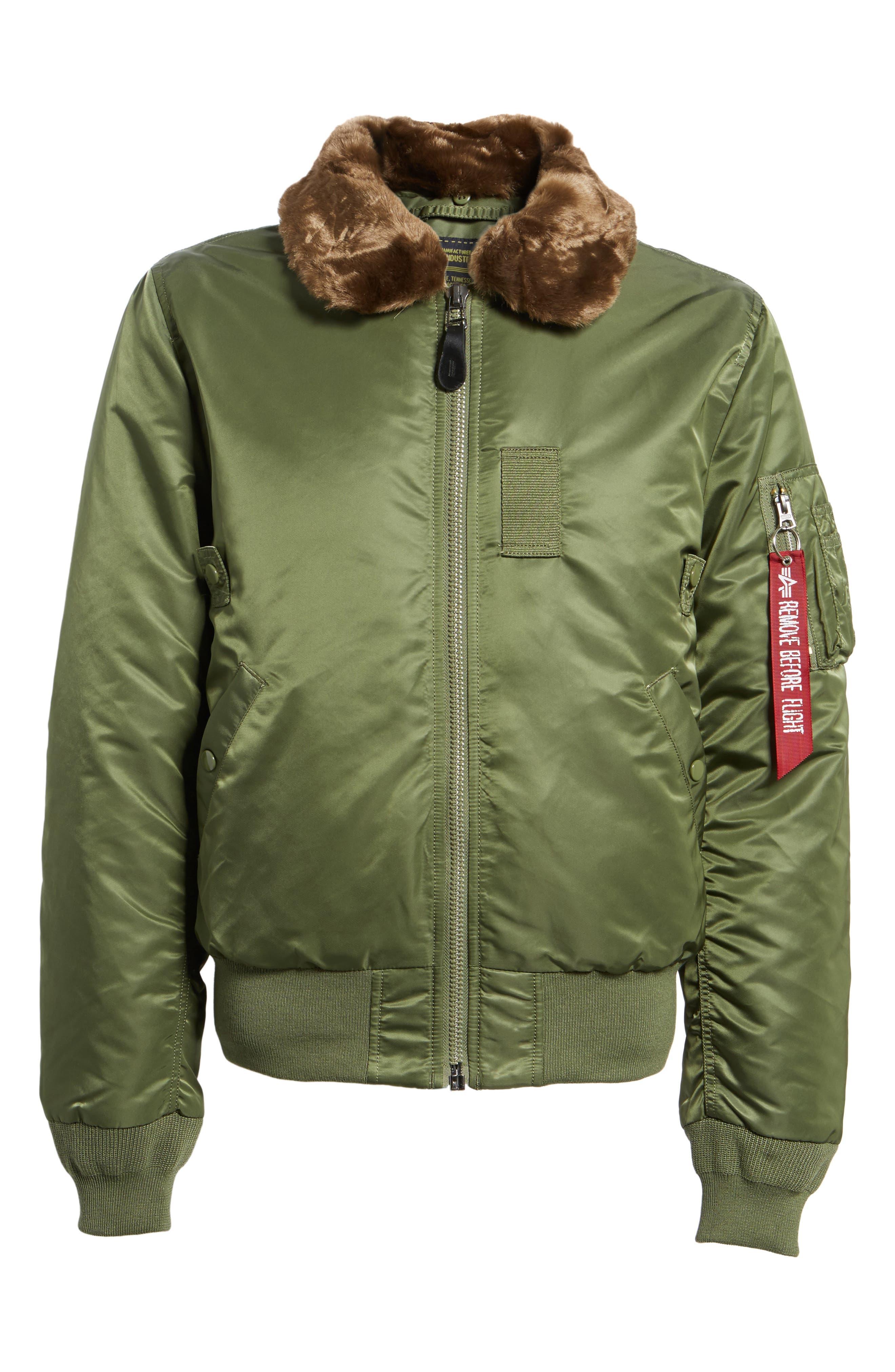 B-15 Removable Faux Fur Collar Flight Jacket,                             Alternate thumbnail 5, color,                             351