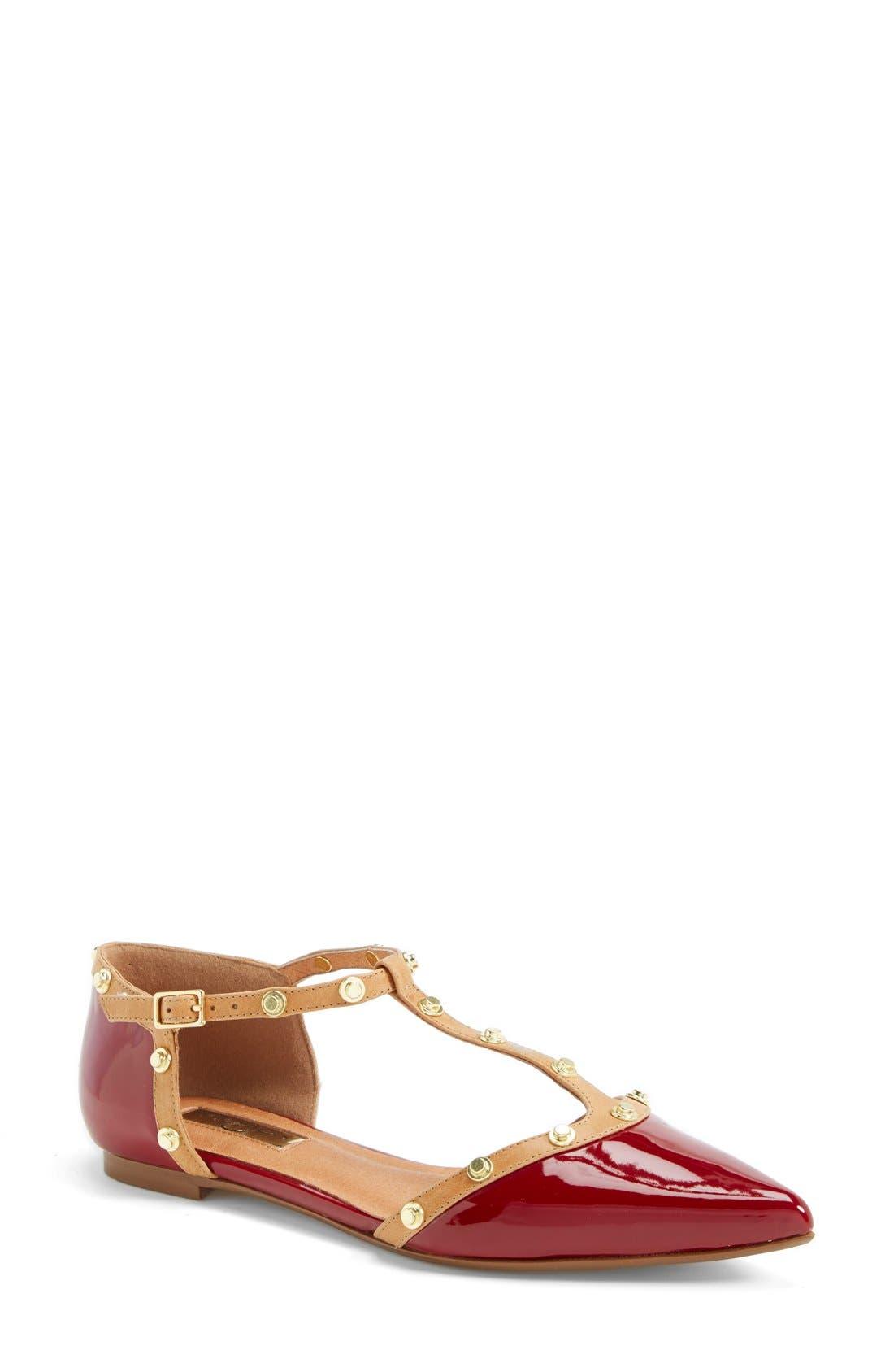 'Olson' Pointy Toe Studded T-Strap Flat,                             Main thumbnail 12, color,