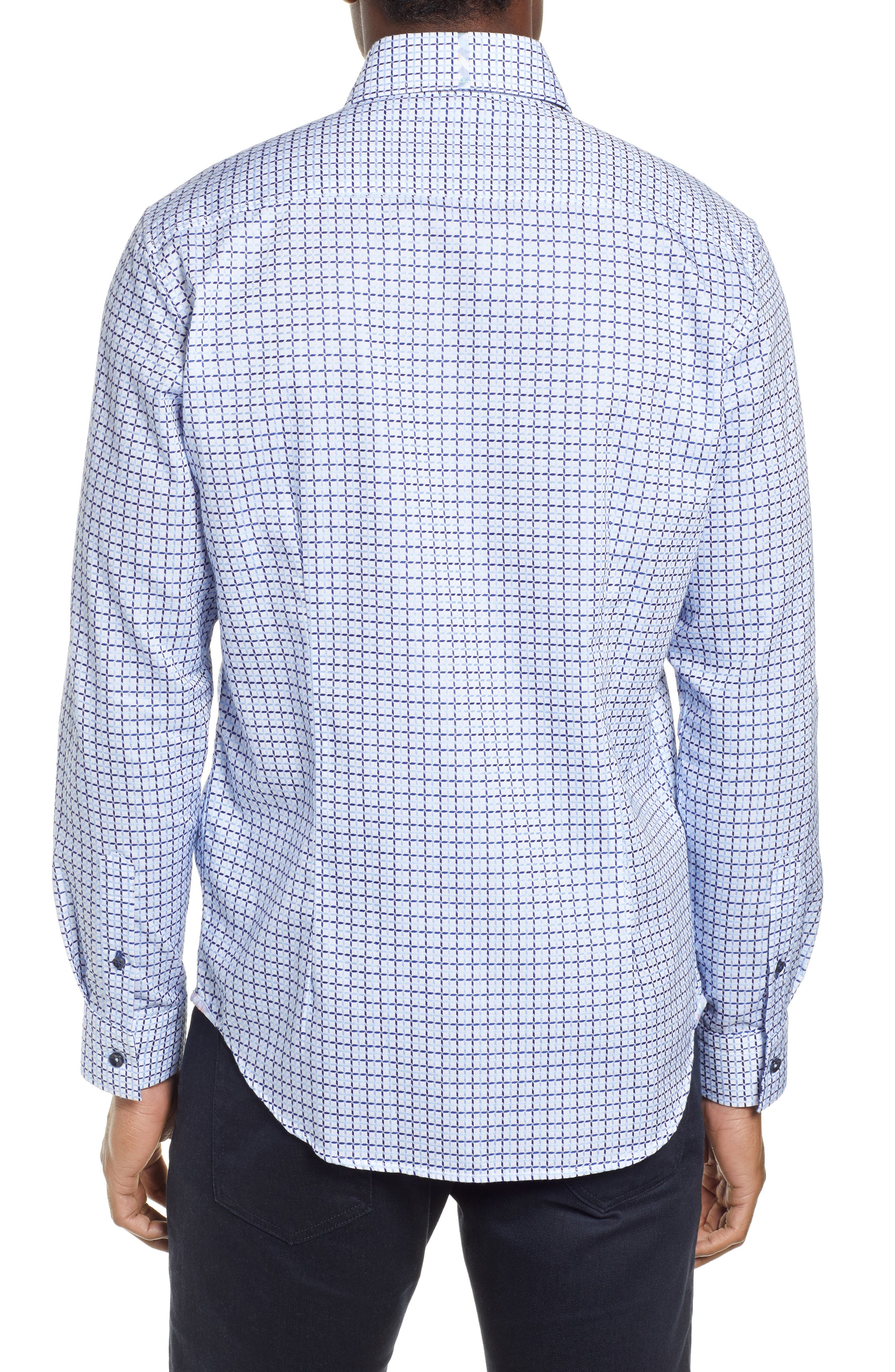 ROBERT GRAHAM,                             Axton Tailored Fit Check Sport Shirt,                             Alternate thumbnail 3, color,                             BLUE