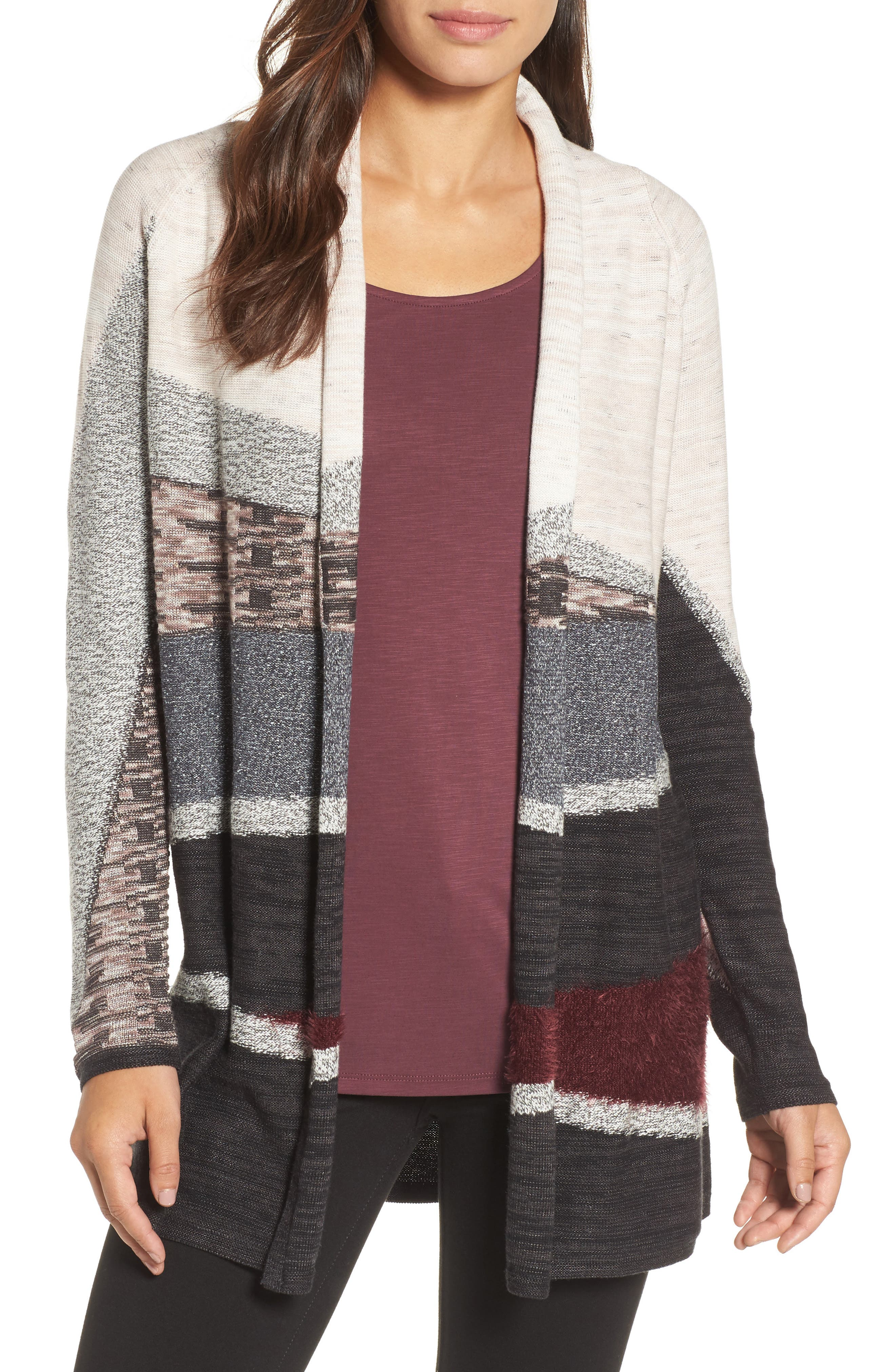 Nic + Zoe Dynasty Open Front Cardigan,                             Main thumbnail 1, color,                             090