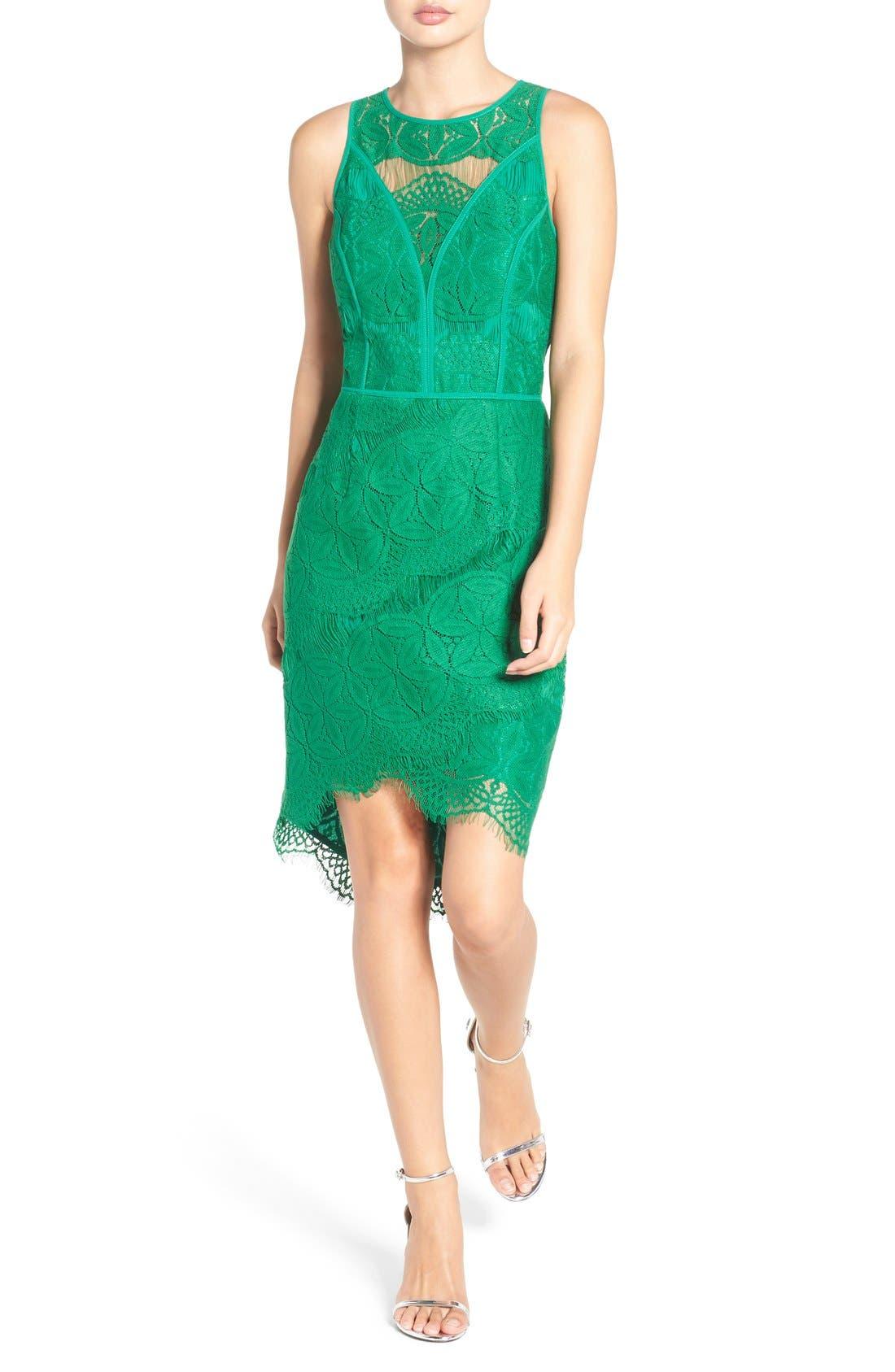 Lace High/Low Sheath Dress,                             Main thumbnail 3, color,