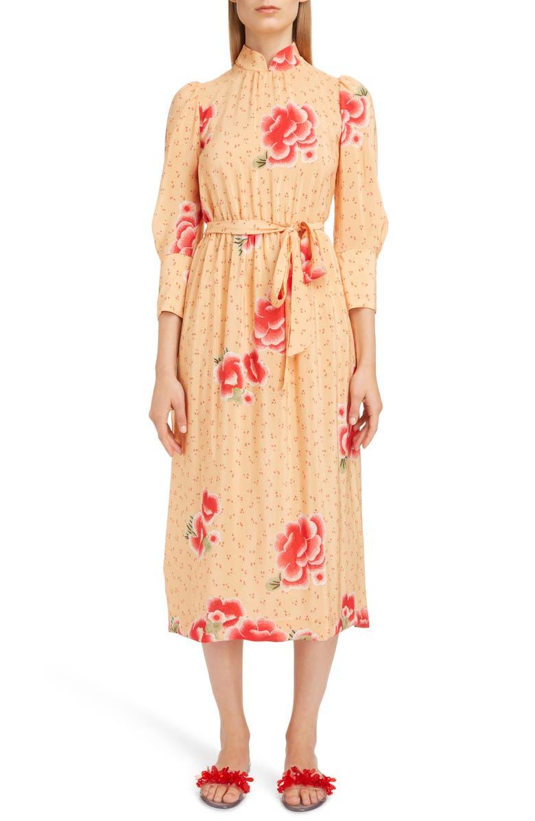 Floral Mandarin Collar Silk Dress
