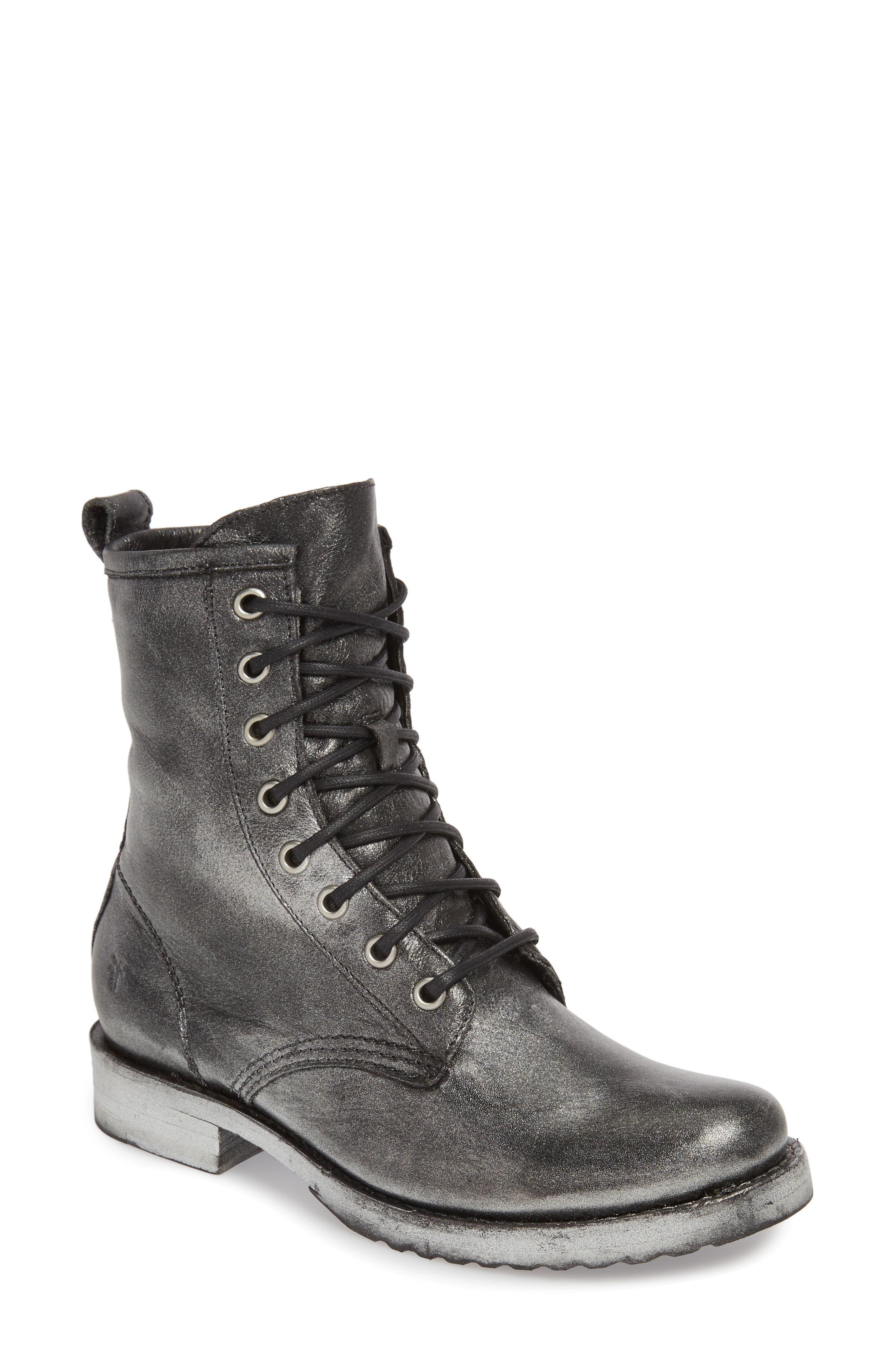 'Veronica Combat' Boot,                         Main,                         color, BLACK METALLIC LEATHER