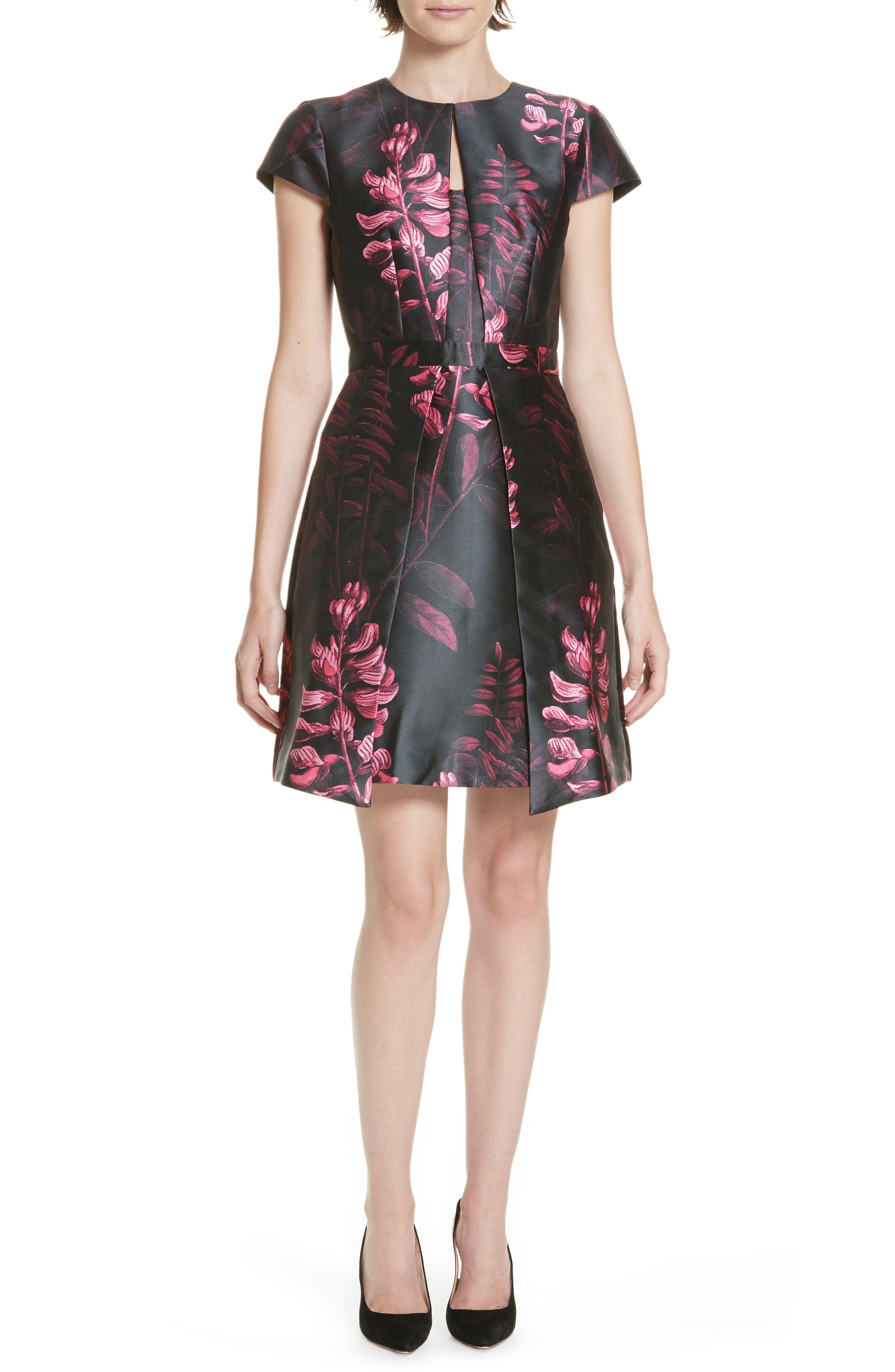 Jebby Splendor Jacquard Fit & Flare Dress,                             Main thumbnail 1, color,                             001
