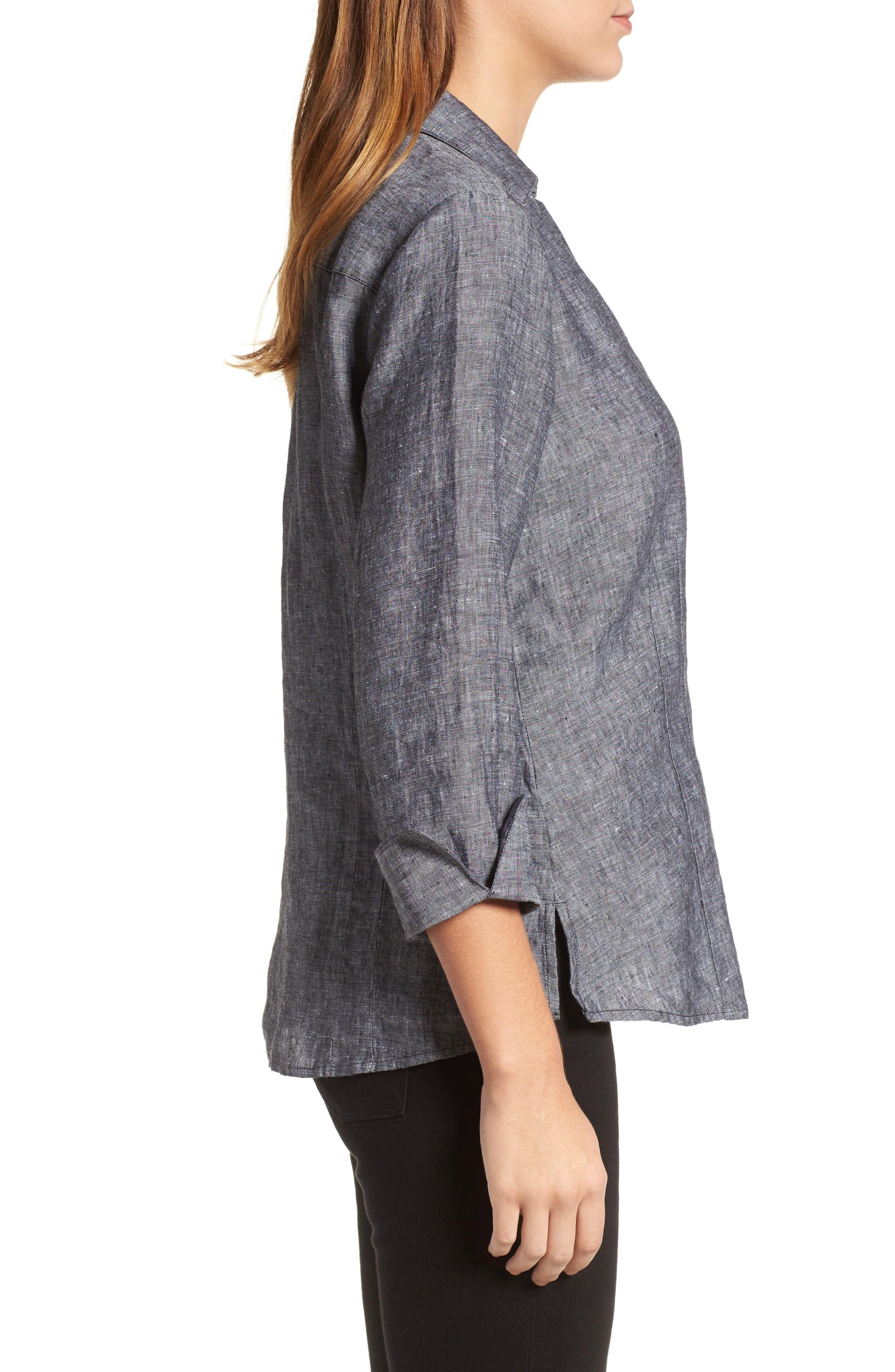 Linen Chambray Shirt,                             Alternate thumbnail 3, color,                             001