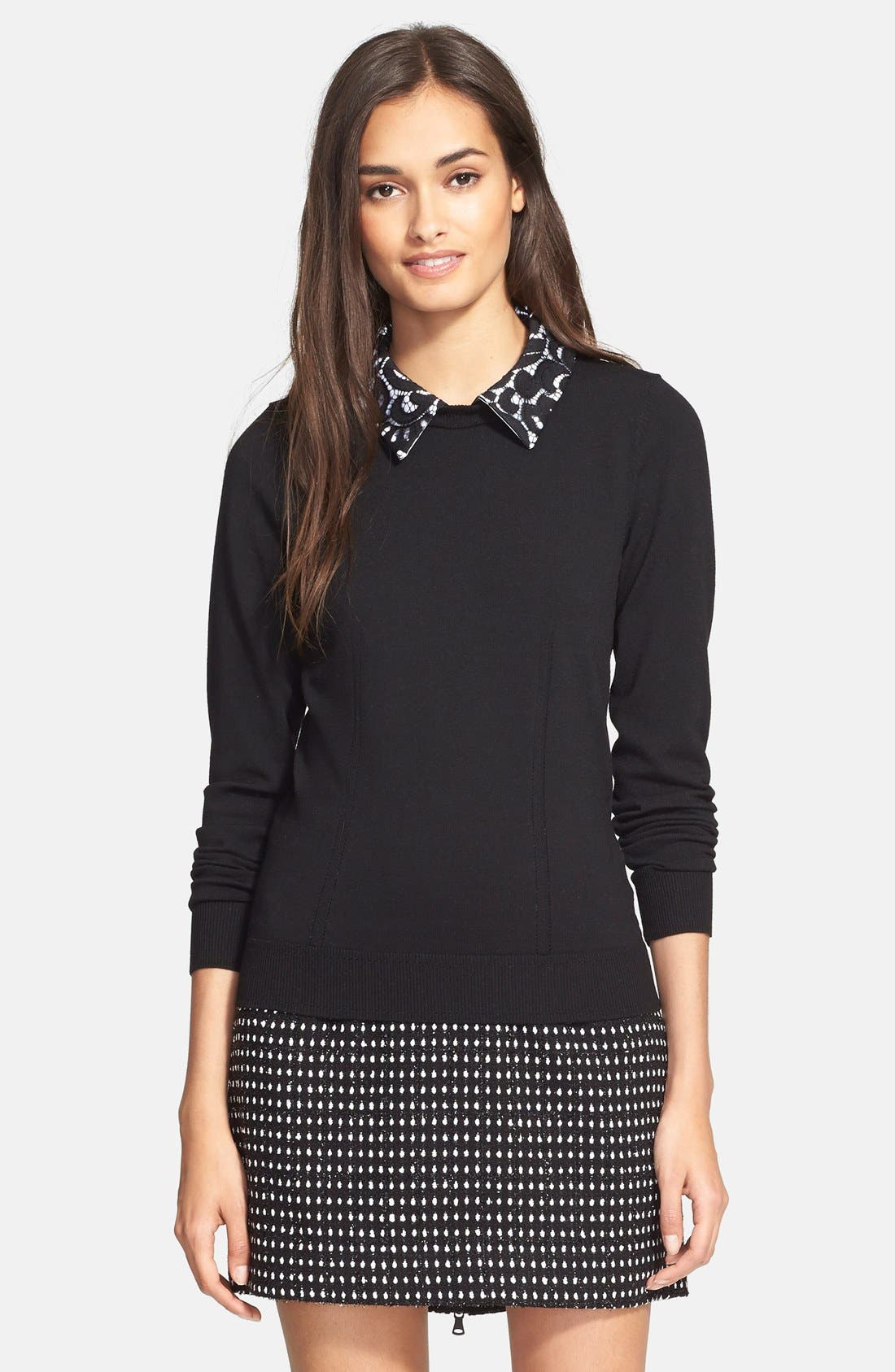 MILLY,                             Lace Collar Sweater,                             Main thumbnail 1, color,                             002