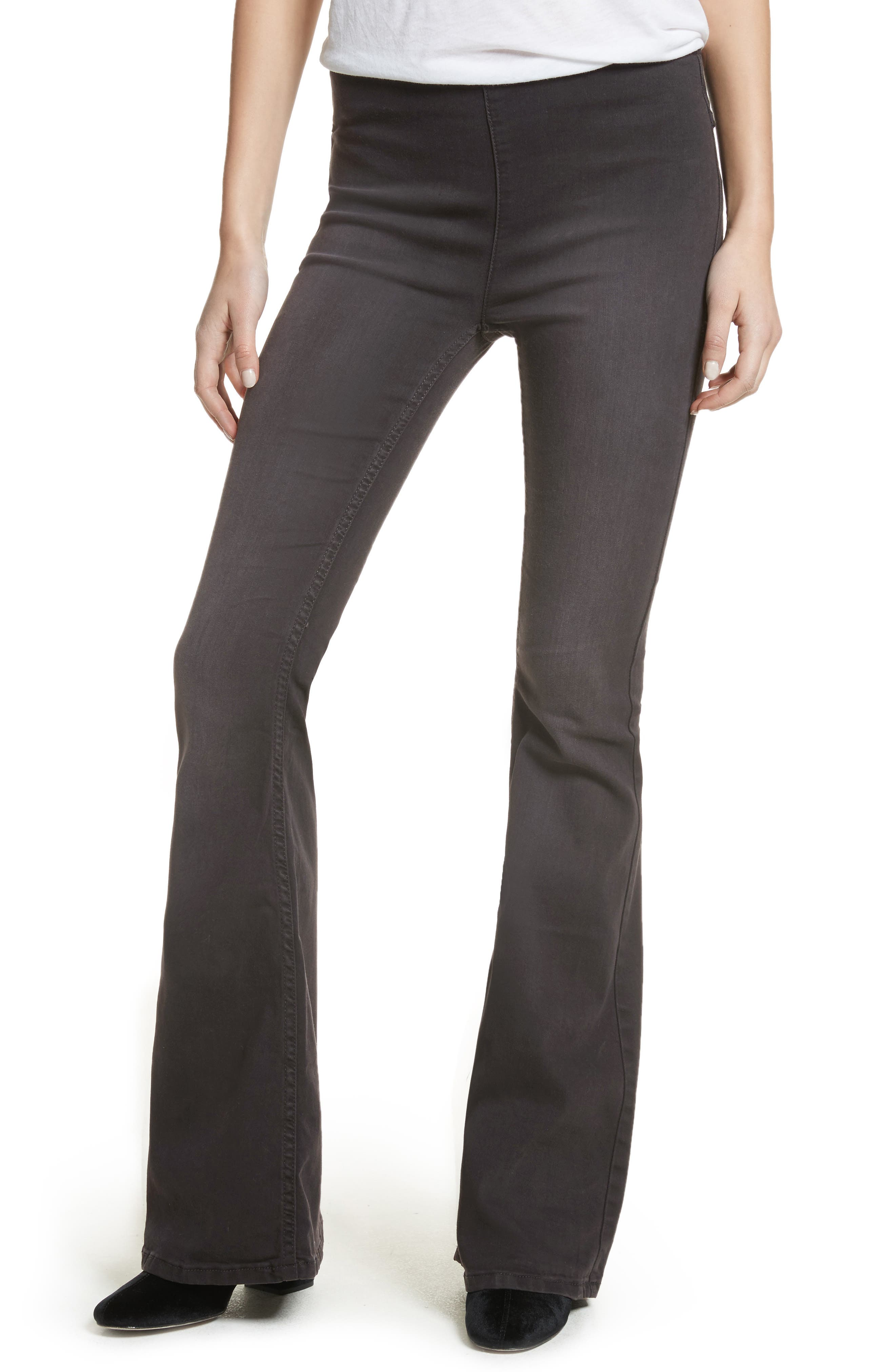 We the Free by Free People Gummy Pull-On Flare Leg Jeans,                         Main,                         color, BLACK