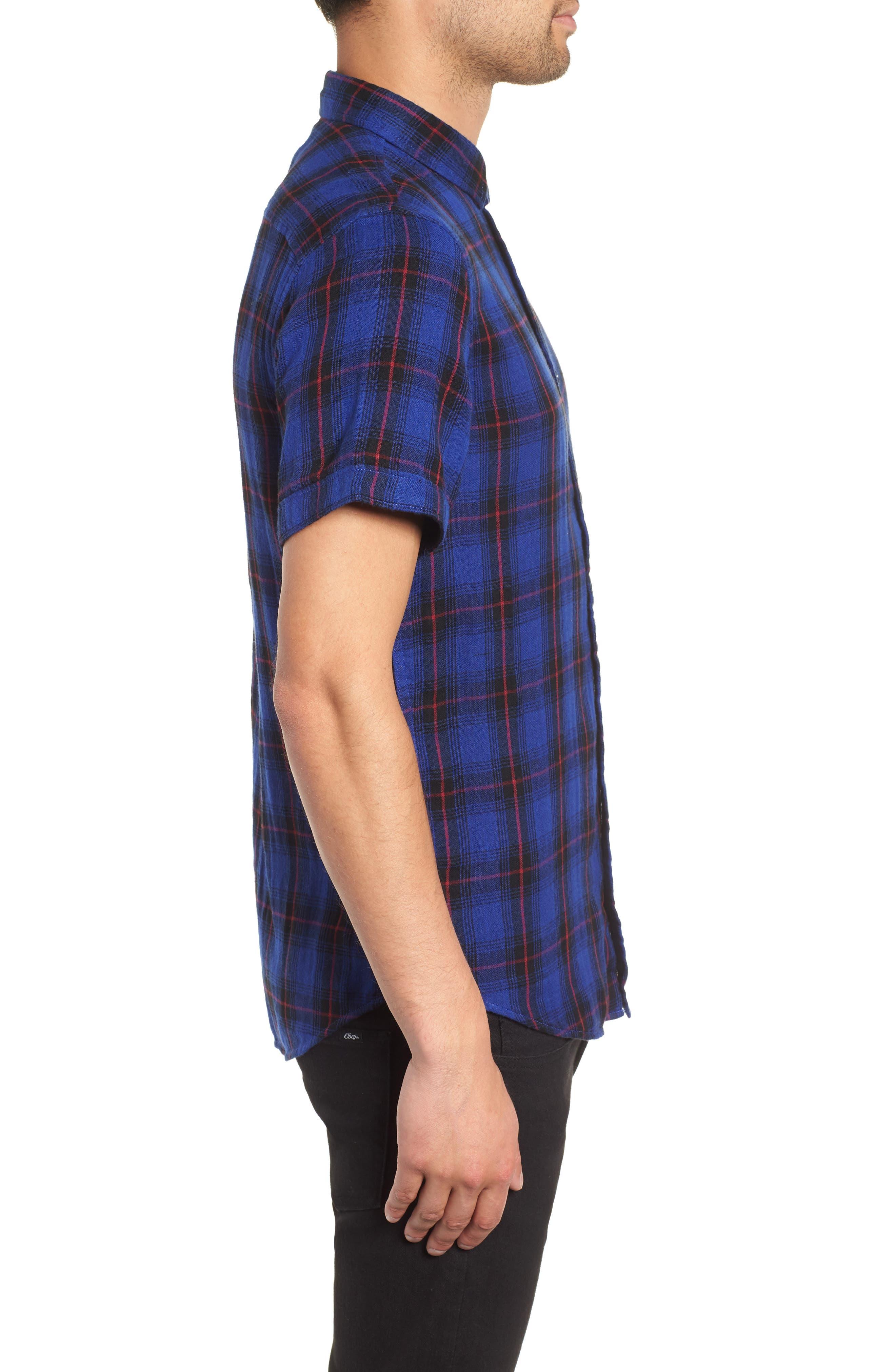 Plaid Woven Shirt,                             Alternate thumbnail 3, color,                             BLUE BLACK LUCA PLAID