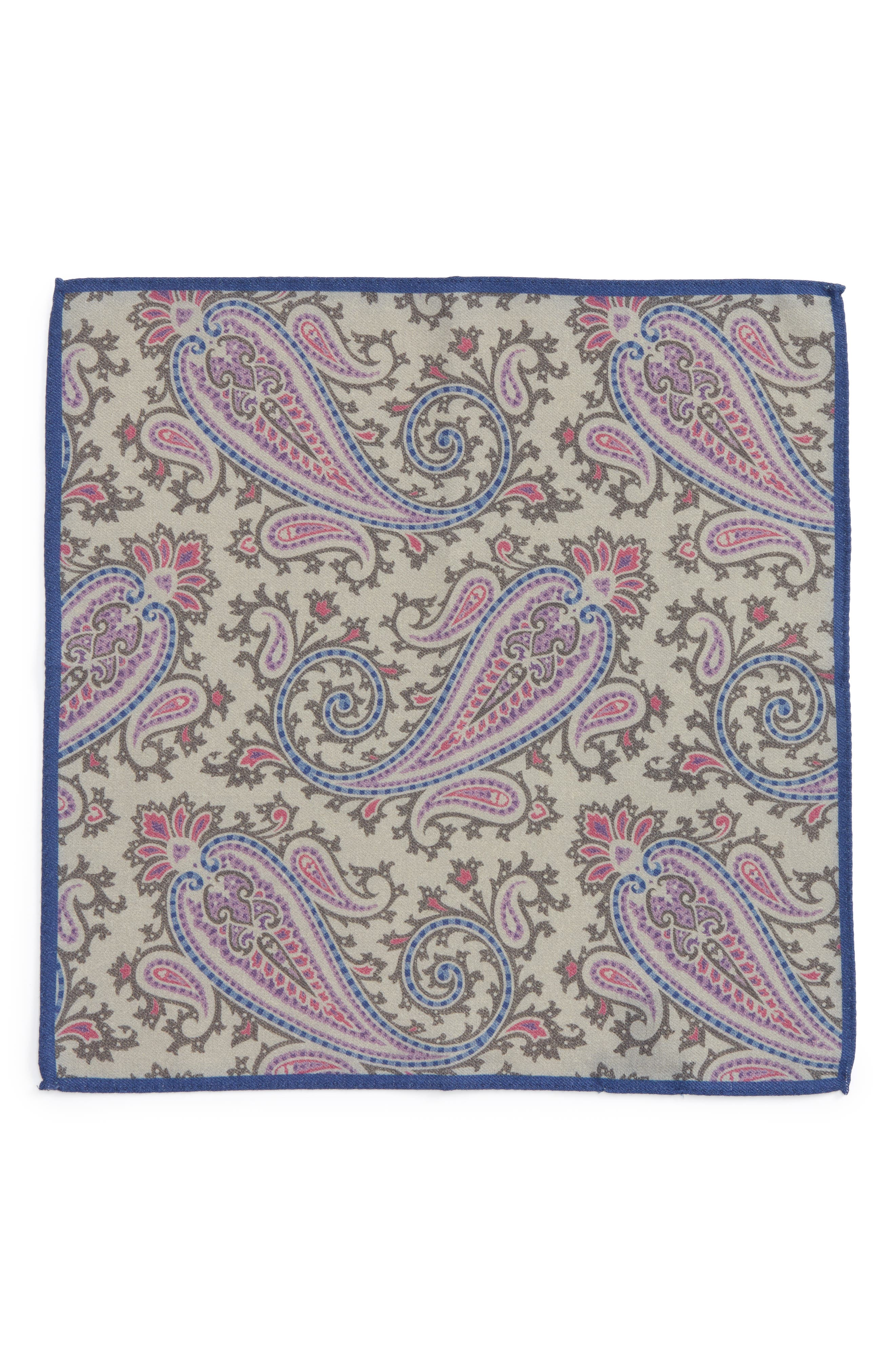Paisley Wool Pocket Square,                             Alternate thumbnail 5, color,