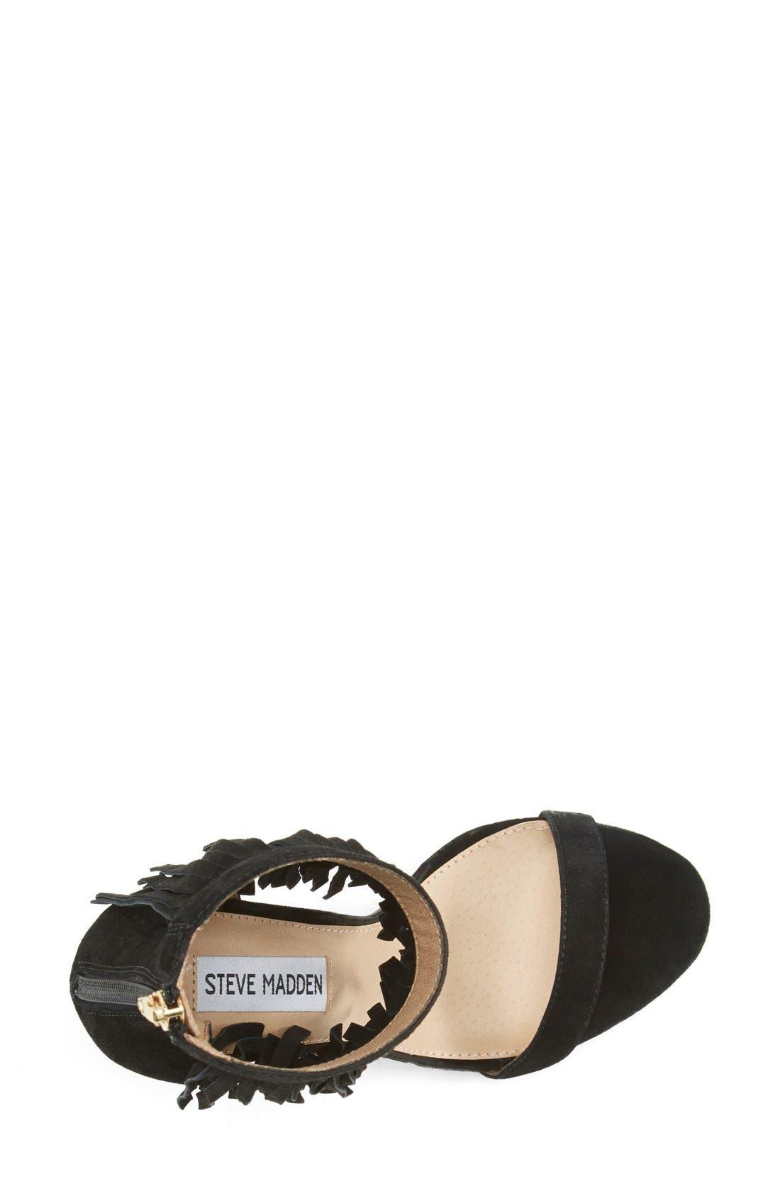 'Staarz' Ankle Fringe Sandal,                             Alternate thumbnail 3, color,                             006