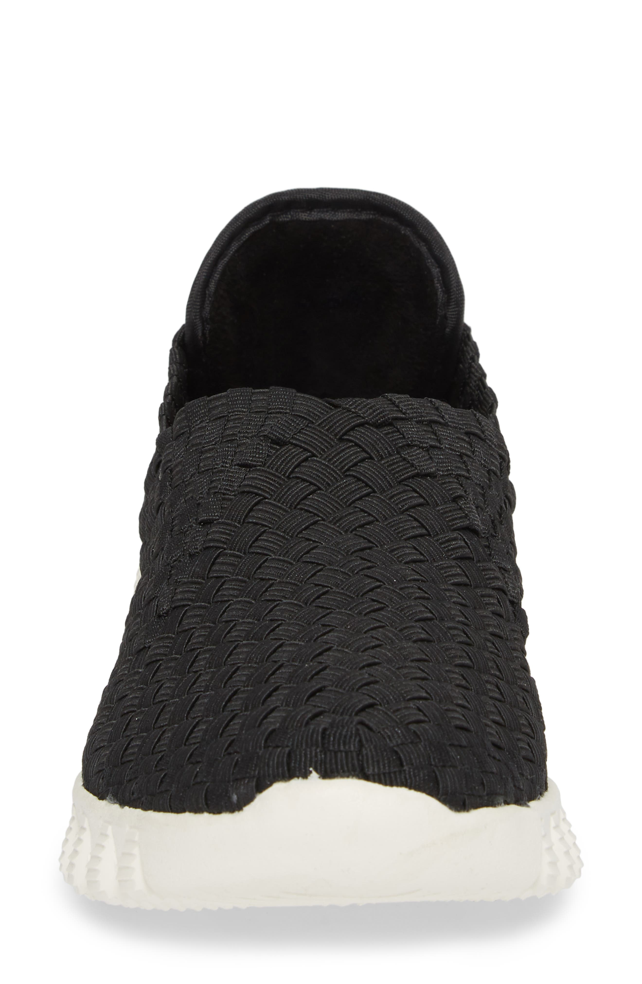 Woven Slip-On Sneaker,                             Alternate thumbnail 4, color,                             BLACK