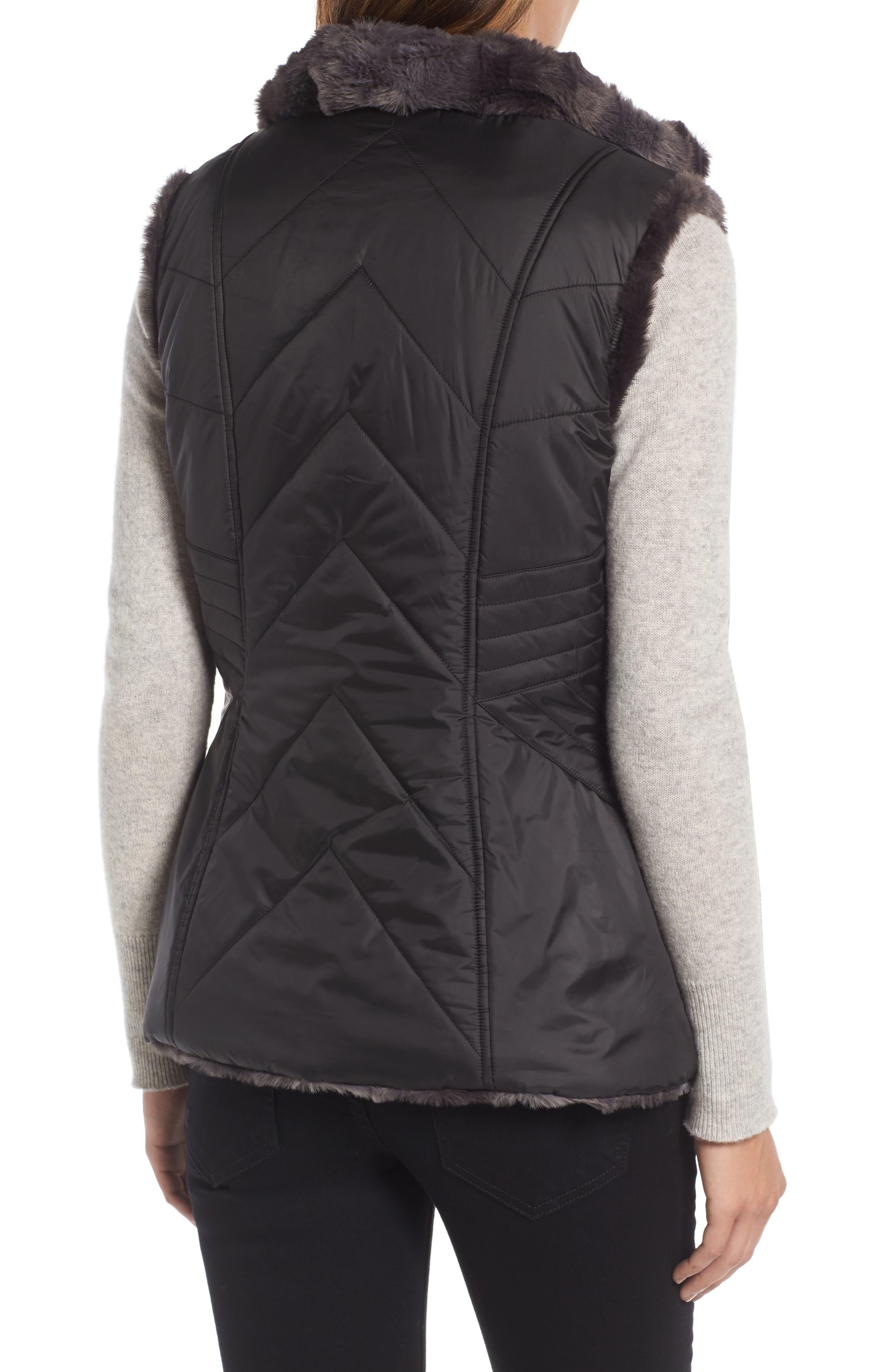 GALLERY,                             Reversible Faux Fur Vest,                             Alternate thumbnail 2, color,                             001