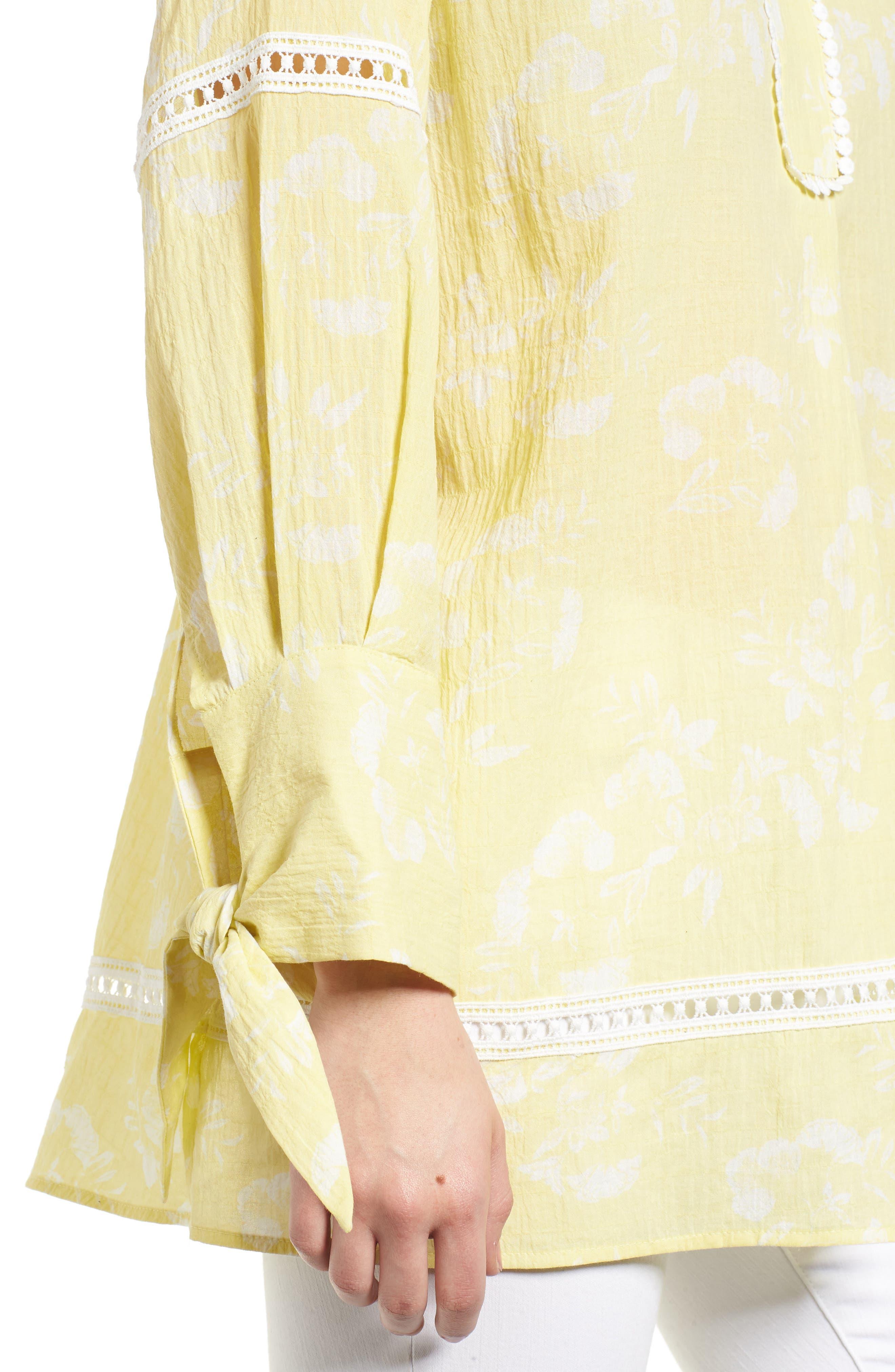 Tie Sleeve Woven Tunic,                             Alternate thumbnail 9, color,