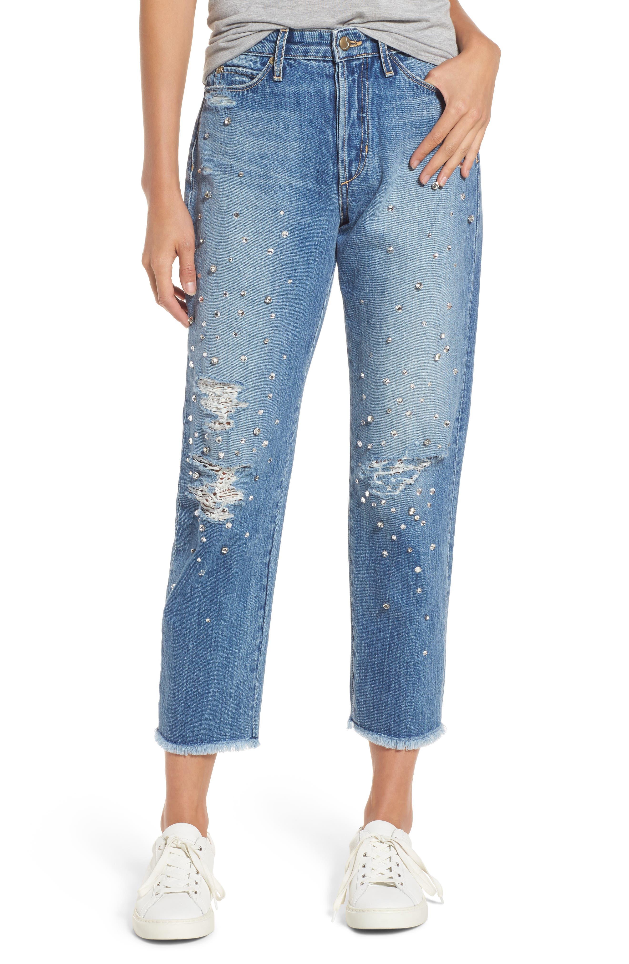 Jeans Smith Rhinestone Crop Boyfriend Jeans,                         Main,                         color, 450